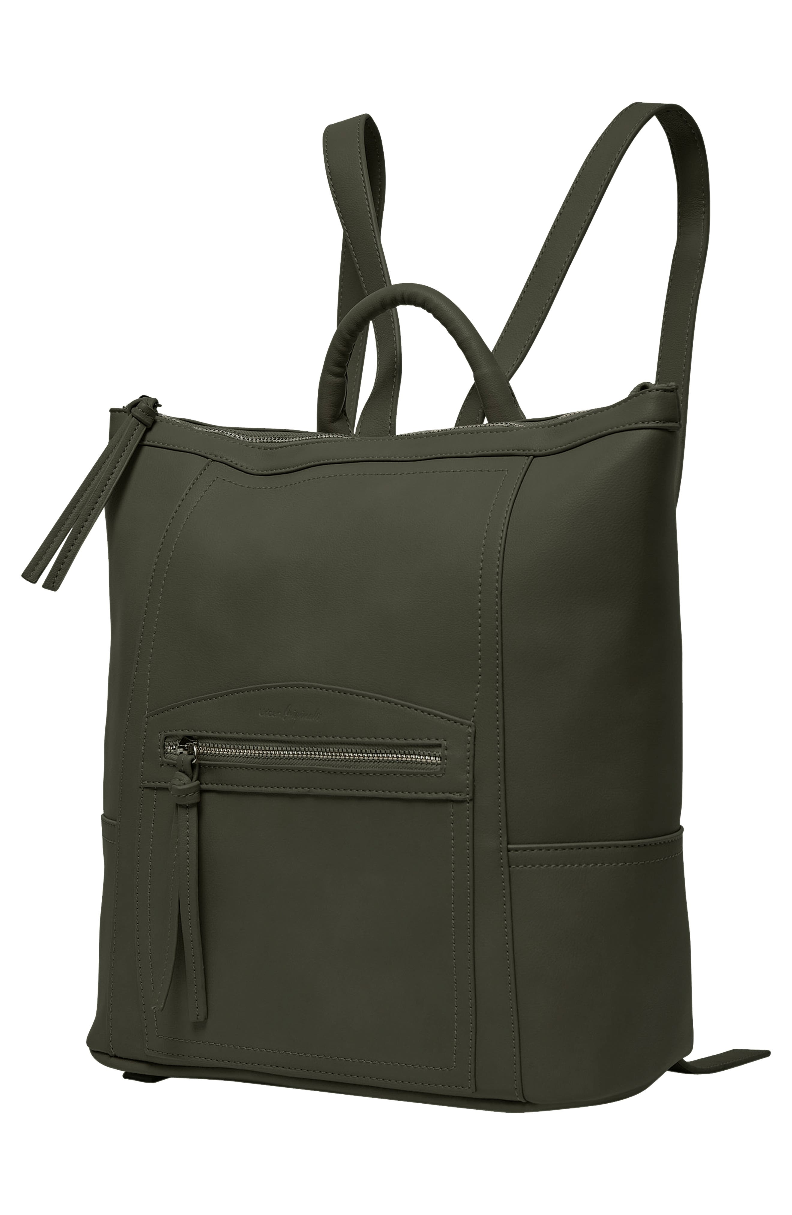 Eternity Vegan Leather Backpack,                             Alternate thumbnail 4, color,                             ARMY GREEN