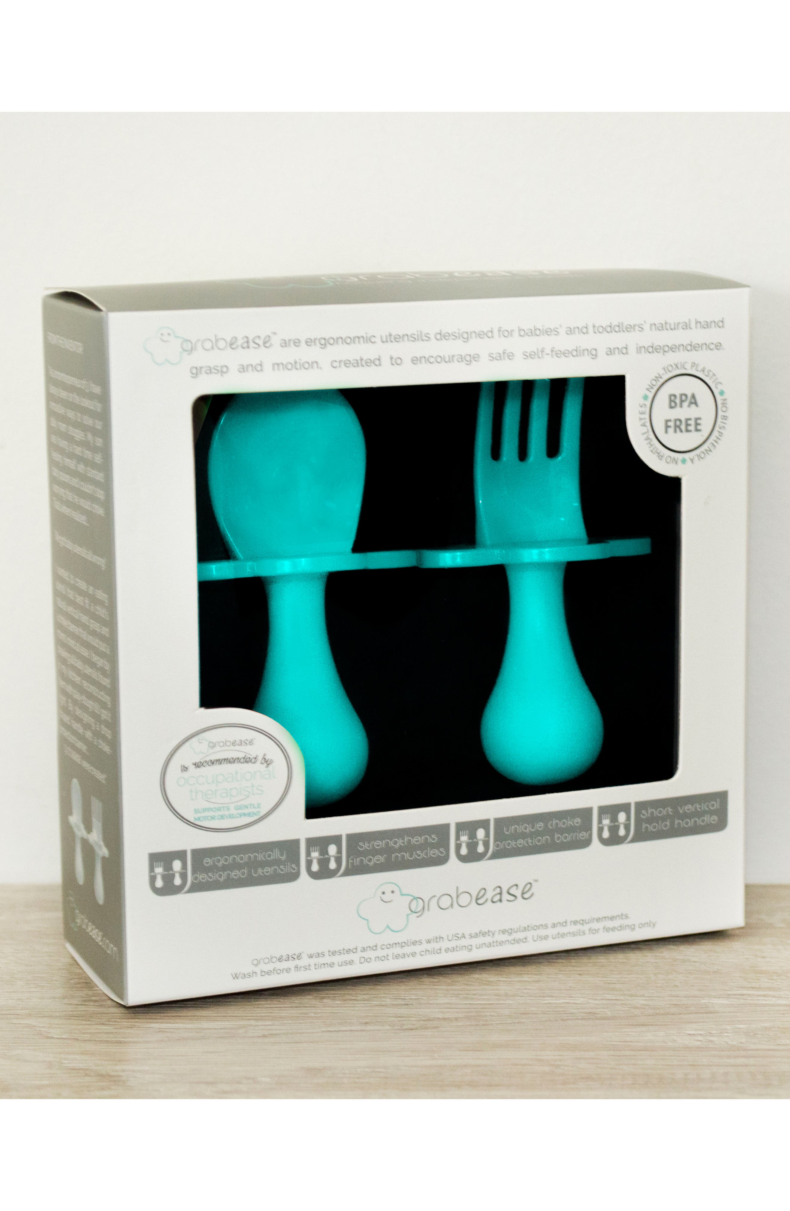 Self Feeding Fork & Spoon Set,                             Alternate thumbnail 2, color,                             TEAL