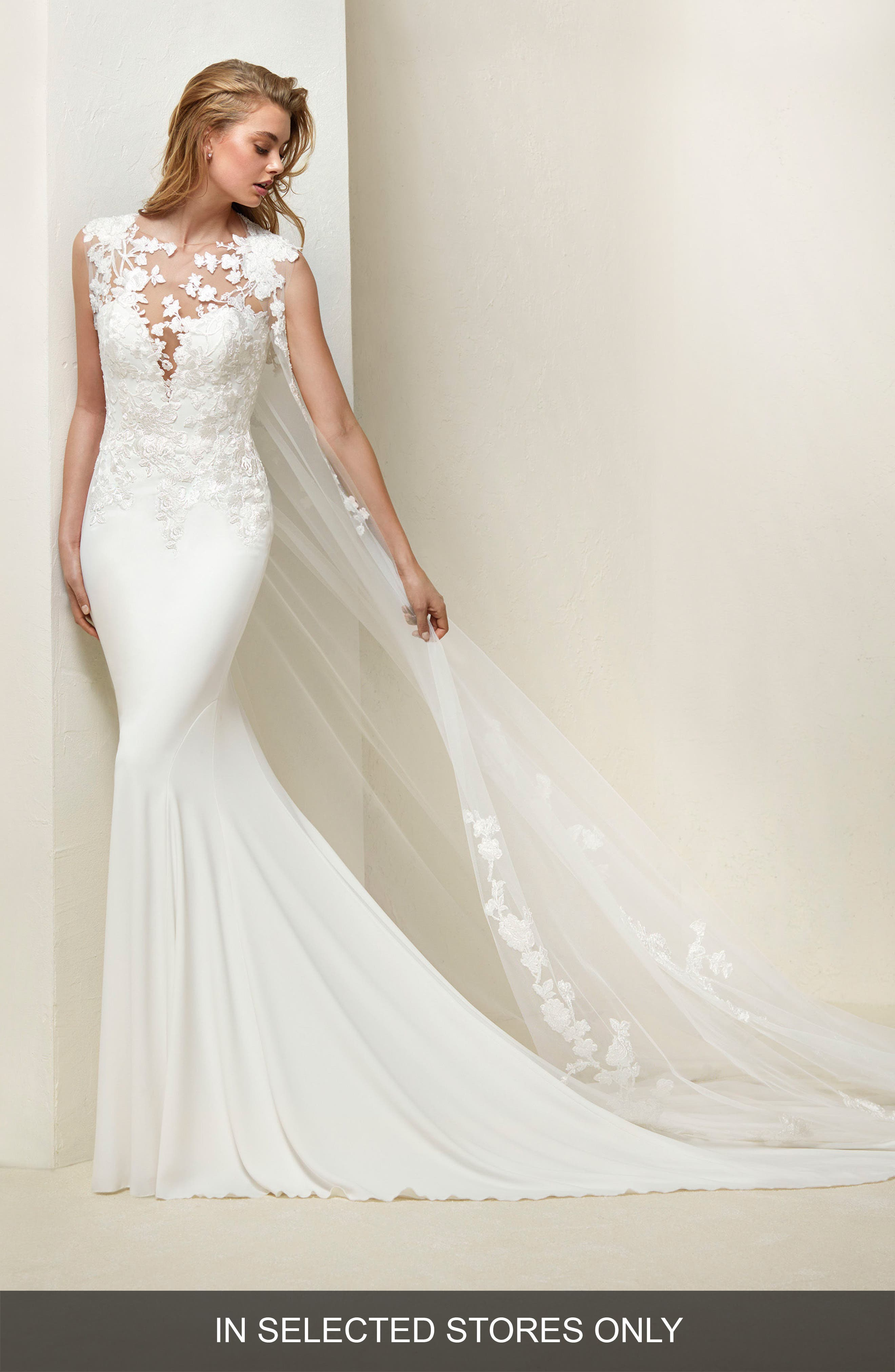 Drail Tulle & Crepe Mermaid Gown,                         Main,                         color, OFF WHITE