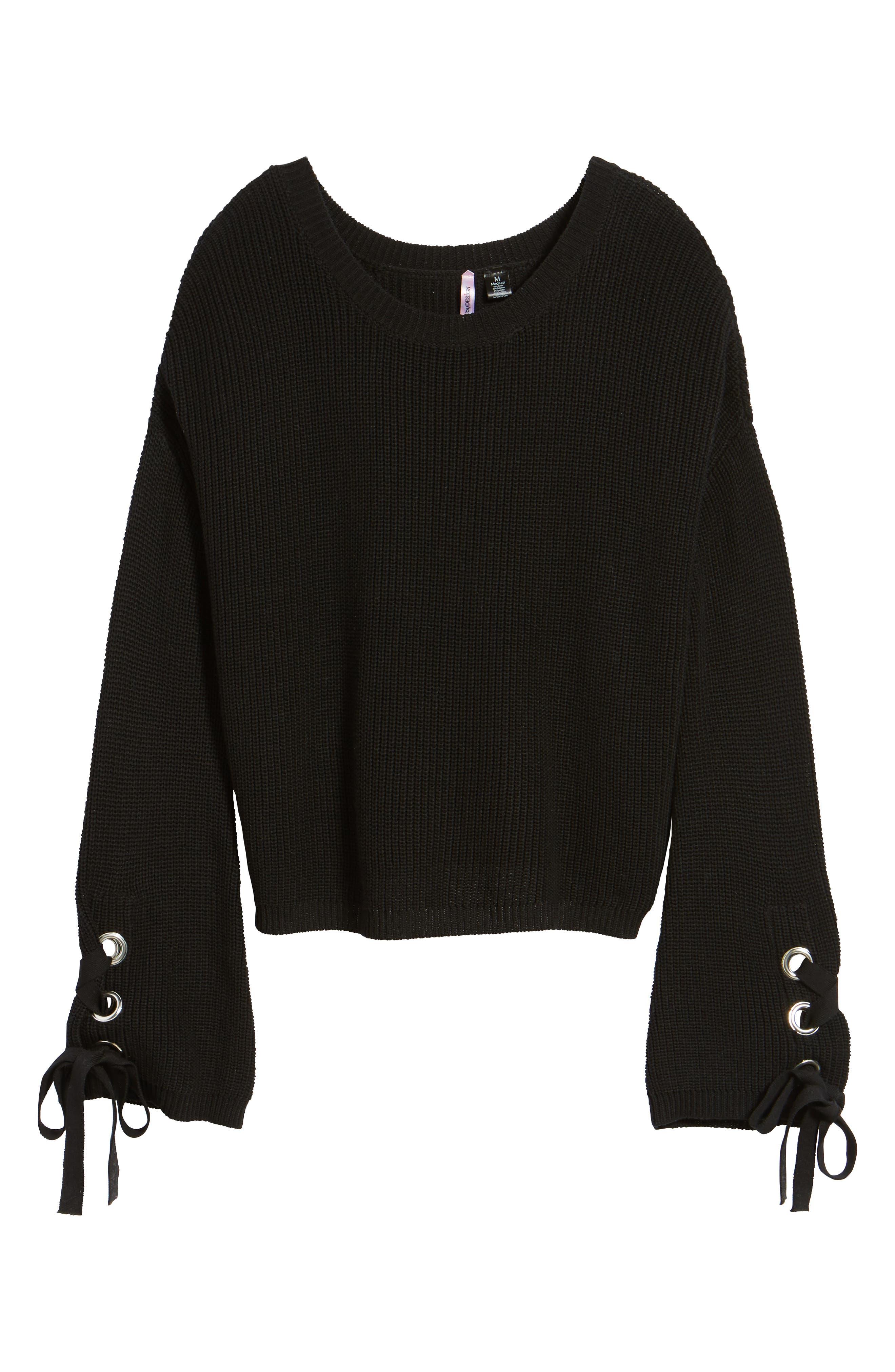 Grommet Sleeve Pullover,                             Alternate thumbnail 6, color,                             001