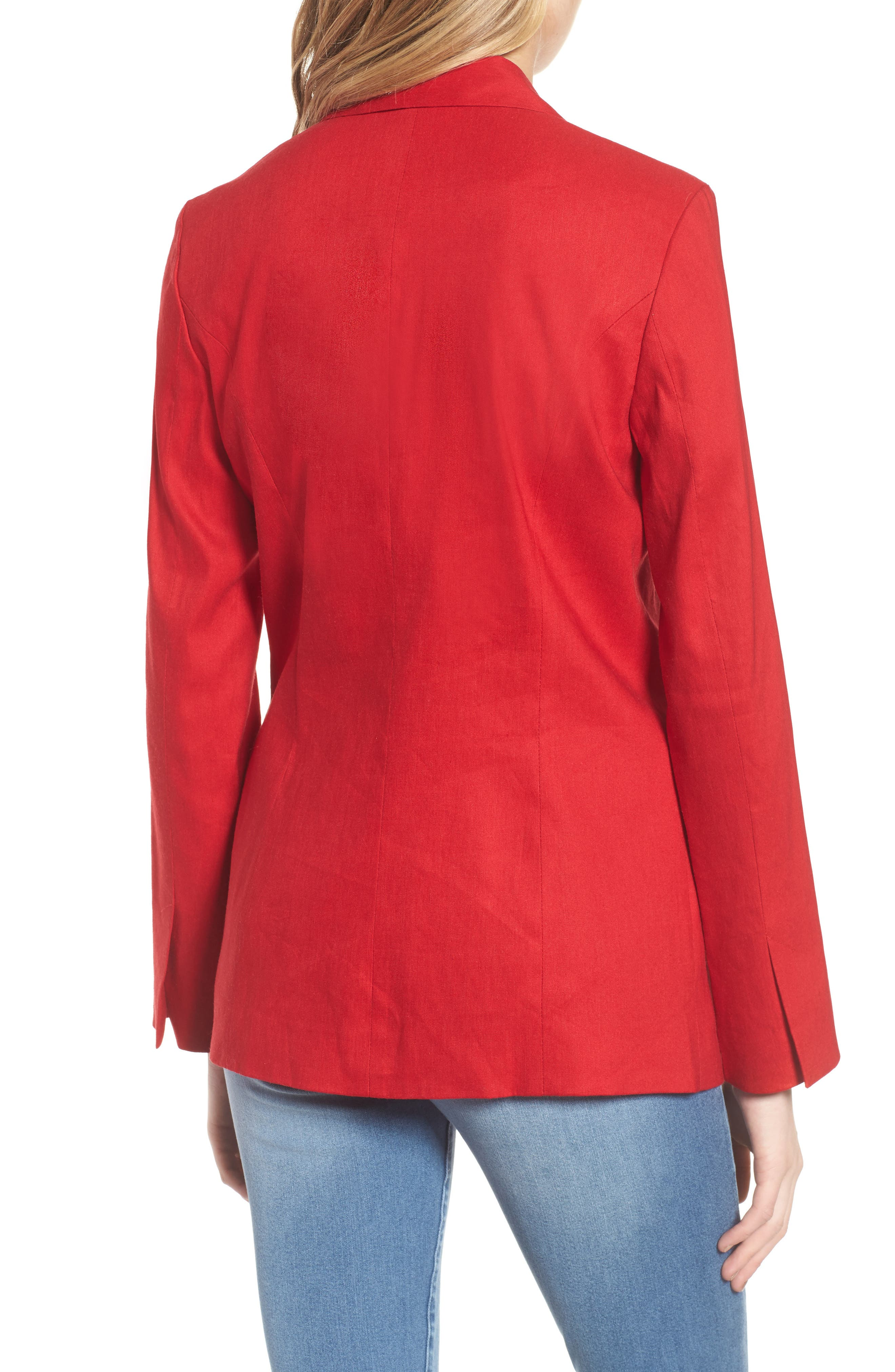 Double Breasted Linen Blend Blazer,                             Alternate thumbnail 9, color,