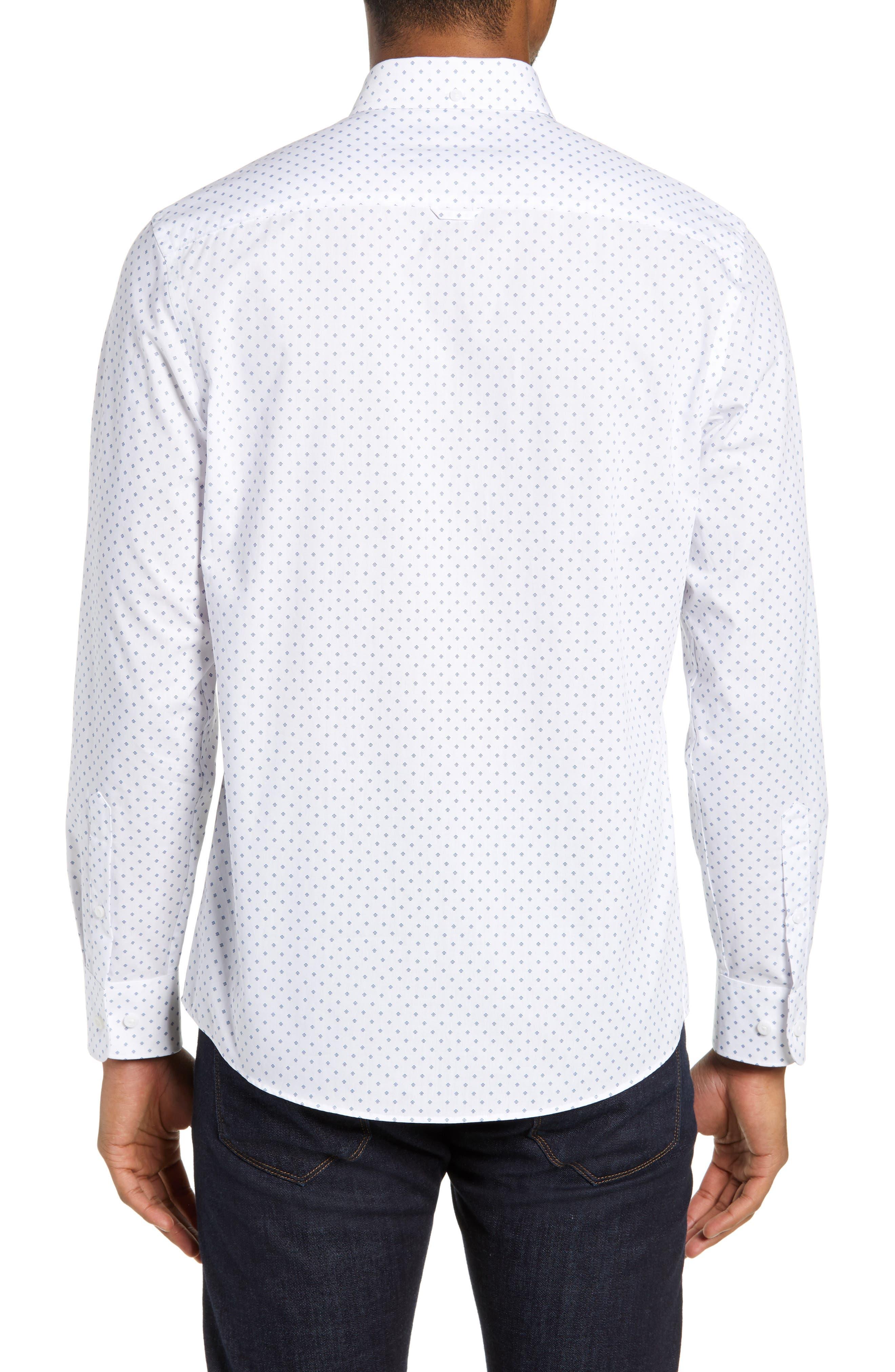 NORDSTROM MEN'S SHOP,                             Slim Fit Non-Iron Geo Print Sport Shirt,                             Alternate thumbnail 3, color,                             100