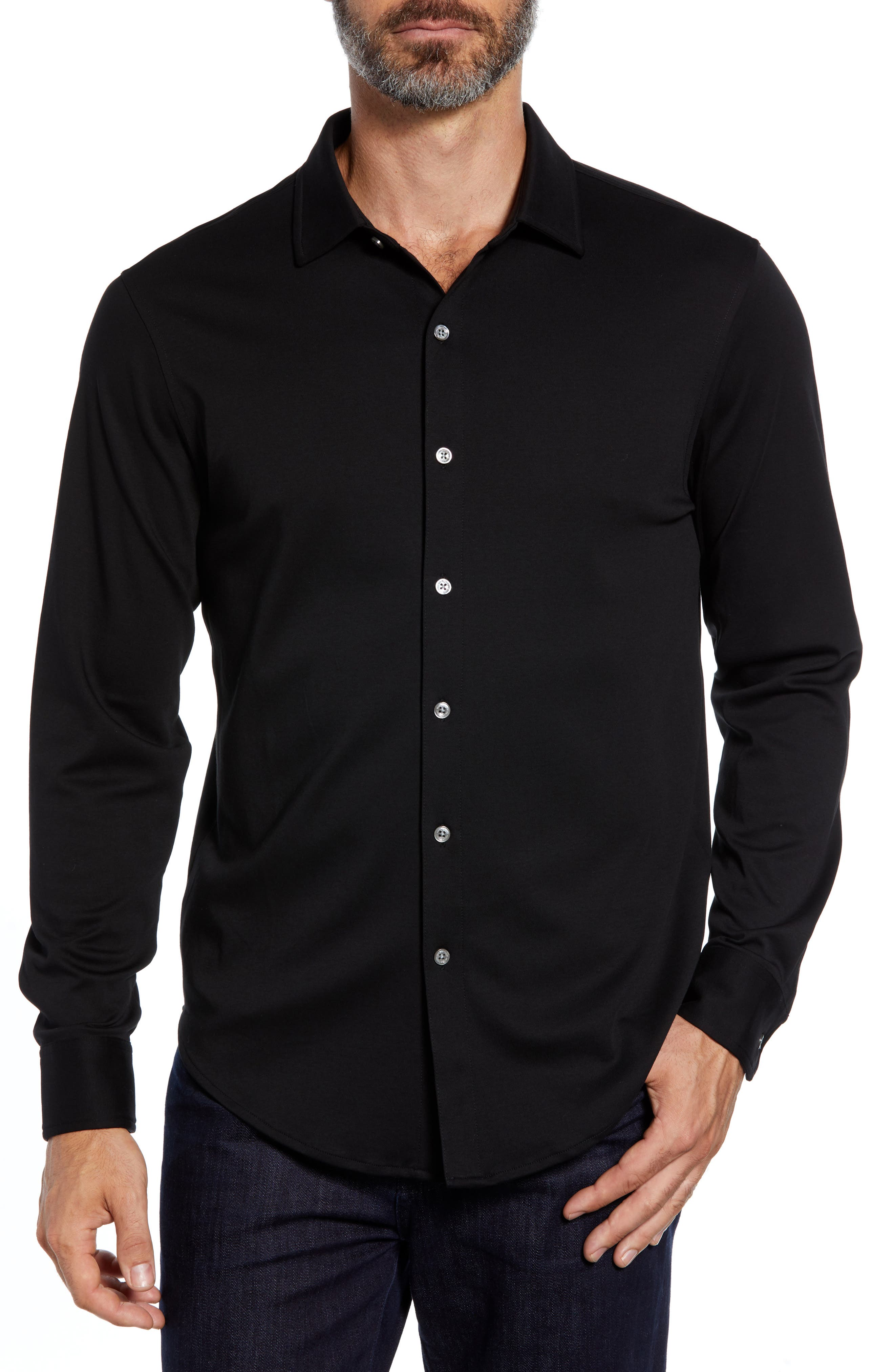 Regular Fit Knit Sport Shirt,                         Main,                         color, BLACK