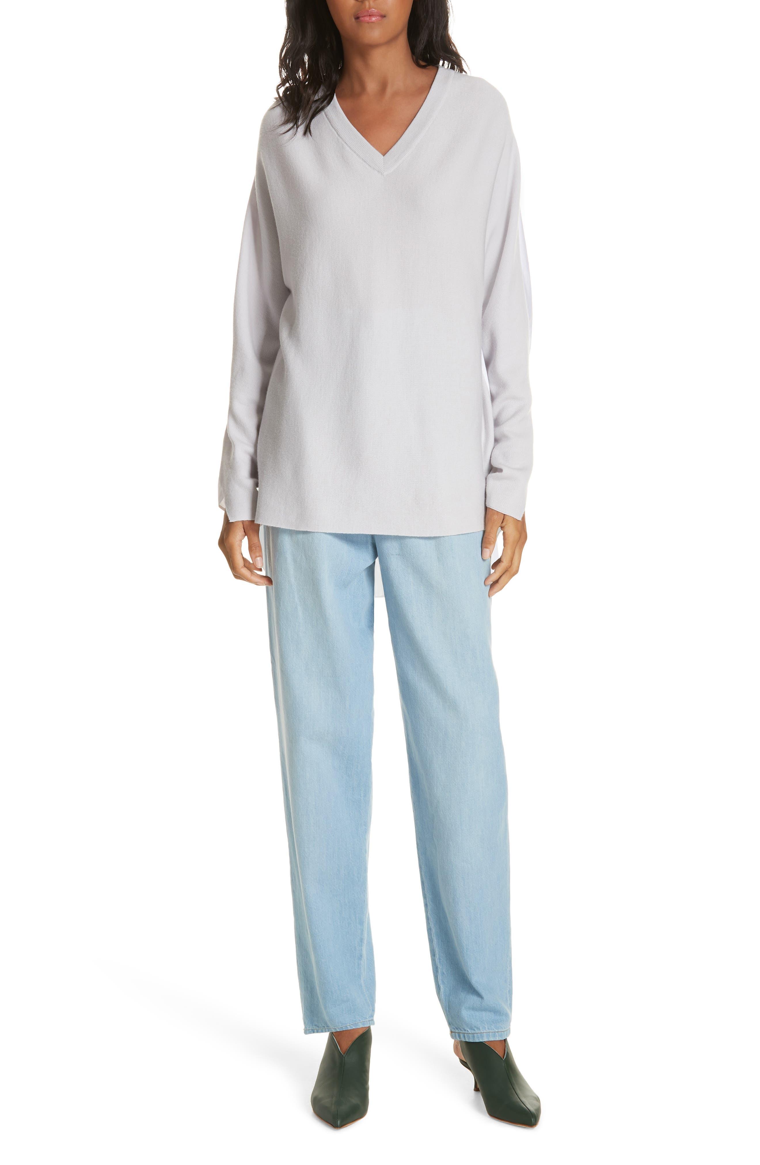 Mixed Media V-Neck Sweater,                             Alternate thumbnail 7, color,                             LIGHT WARM GREY MULTI