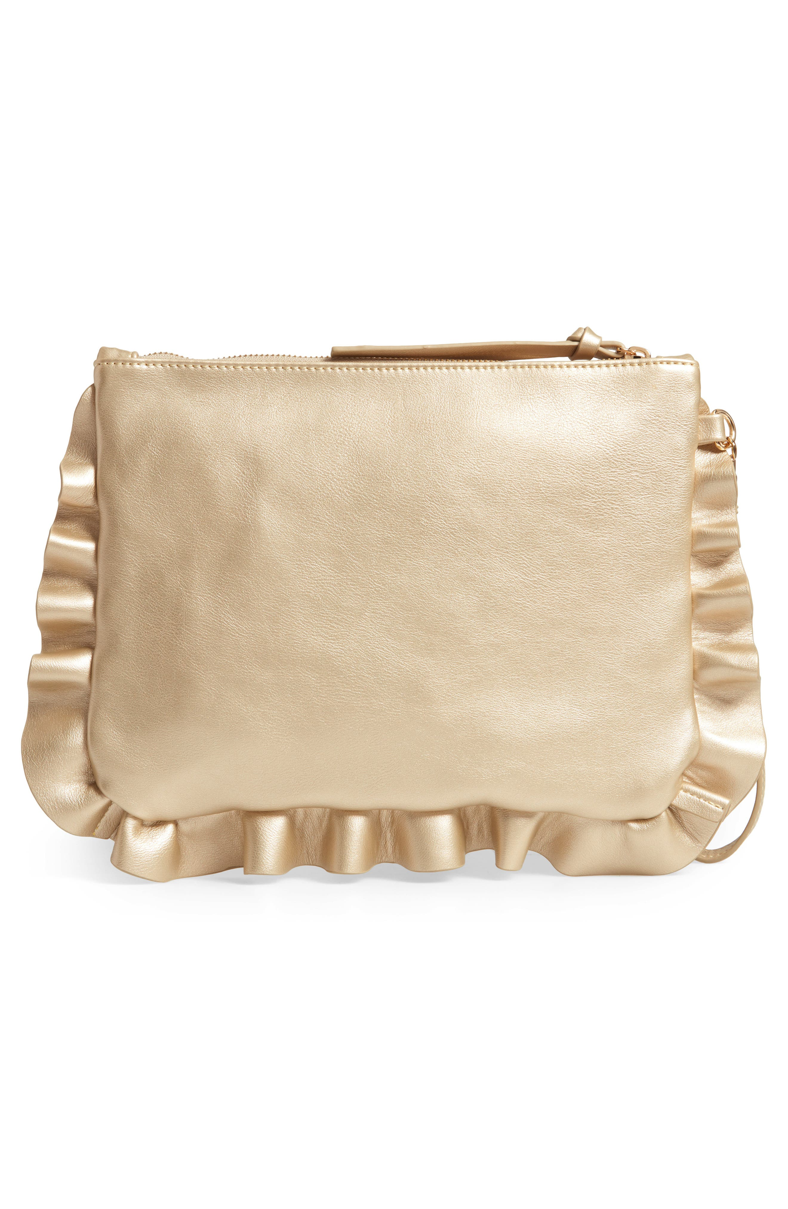 SOLE SOCIETY,                             Adelina Faux Leather Ruffle Clutch,                             Alternate thumbnail 3, color,                             GOLD