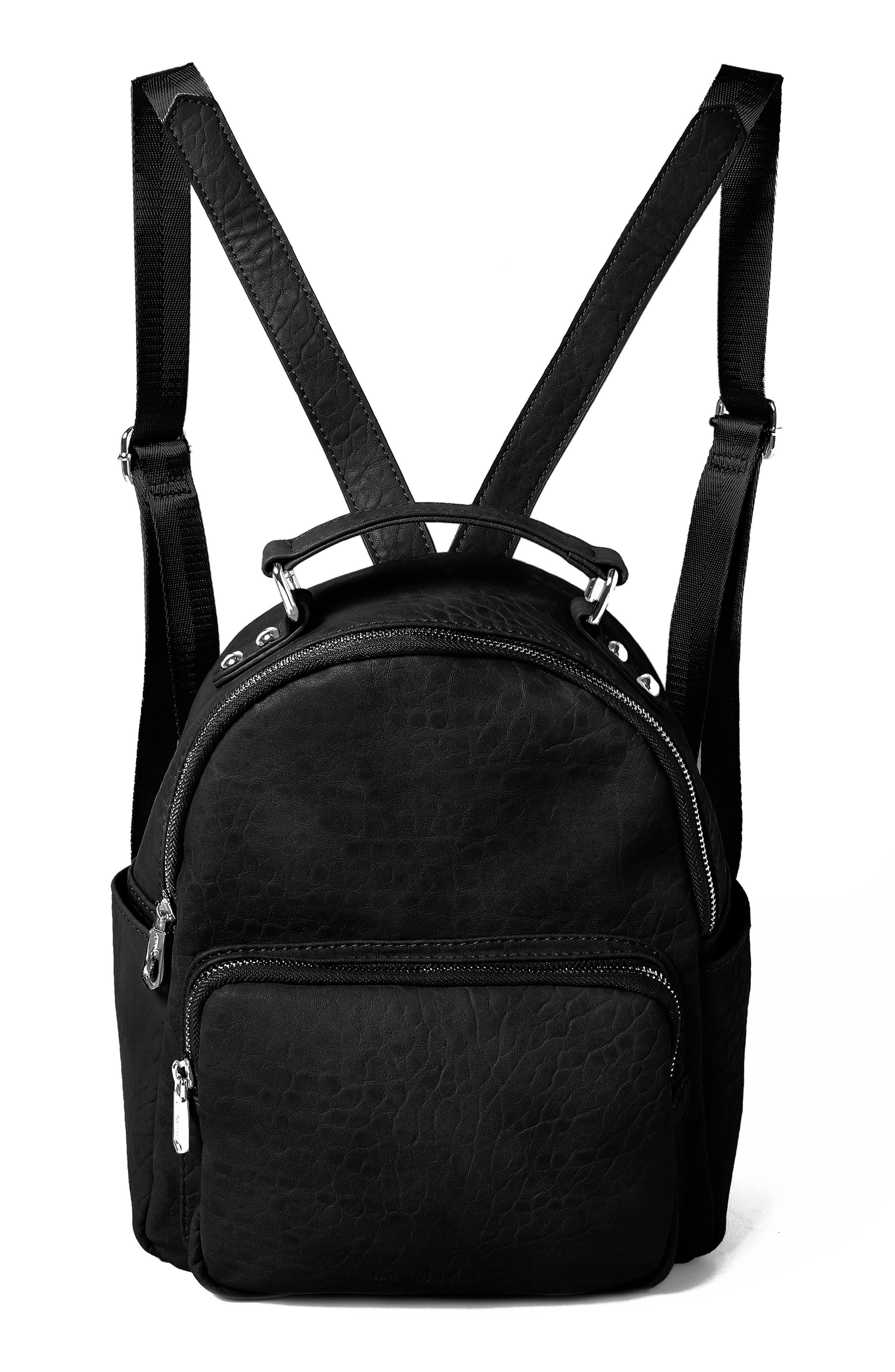 Vegan Leather Mini Backpack - Black