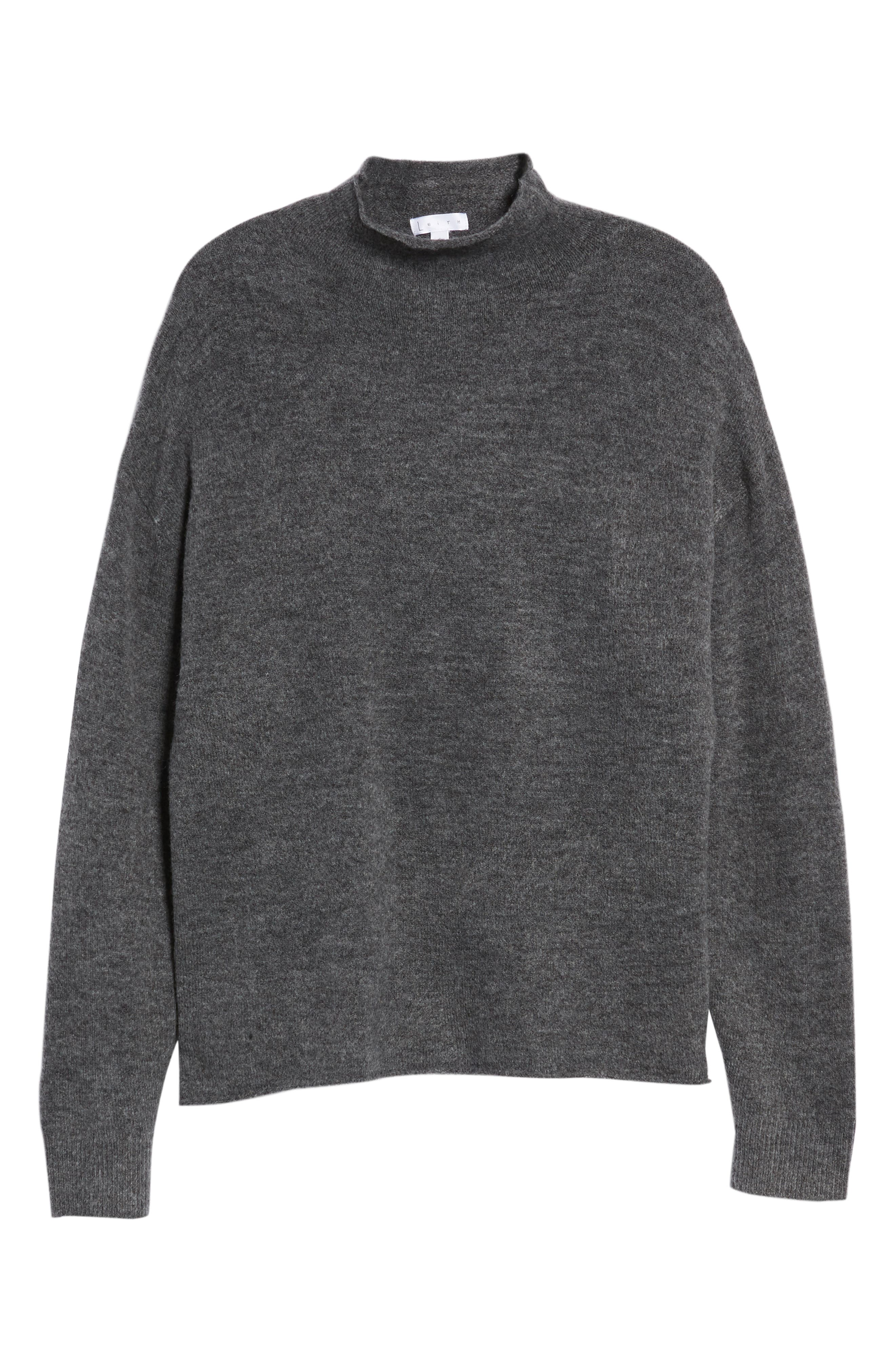 Cozy Mock Neck Sweater,                             Alternate thumbnail 6, color,                             GREY MEDIUM CHARCOAL HEATHER