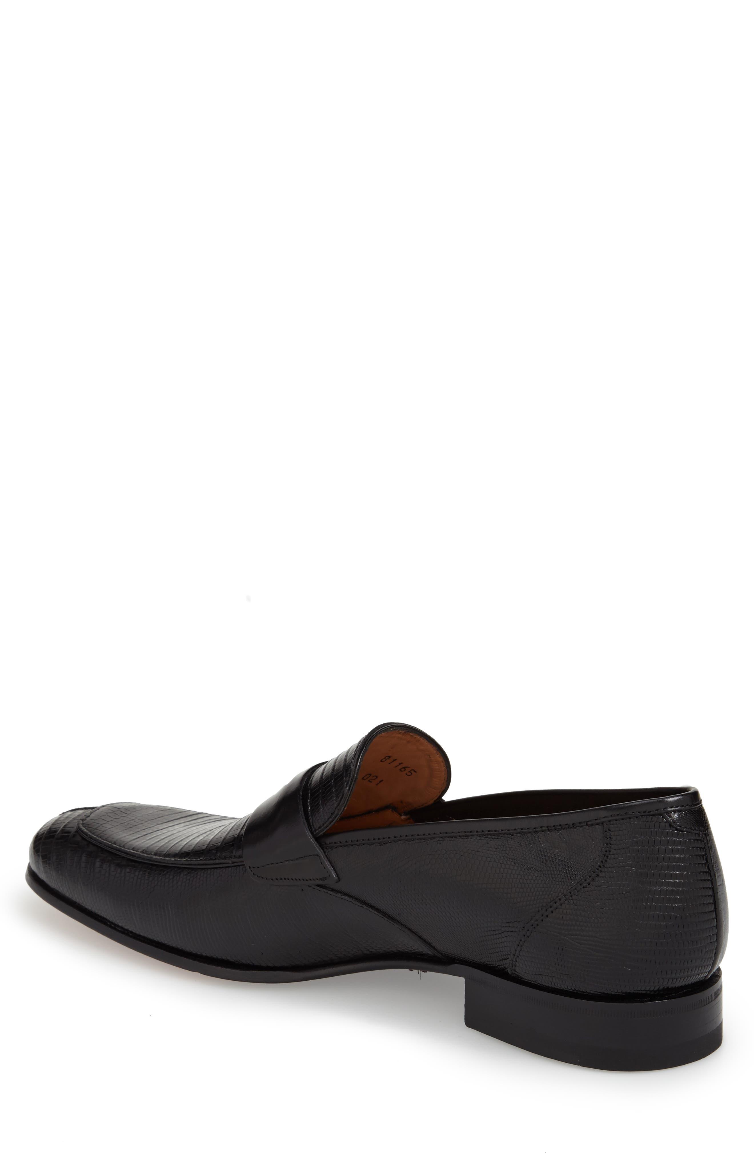 'Lipari' Lizard Leather Penny Loafer,                             Alternate thumbnail 6, color,                             BLACK