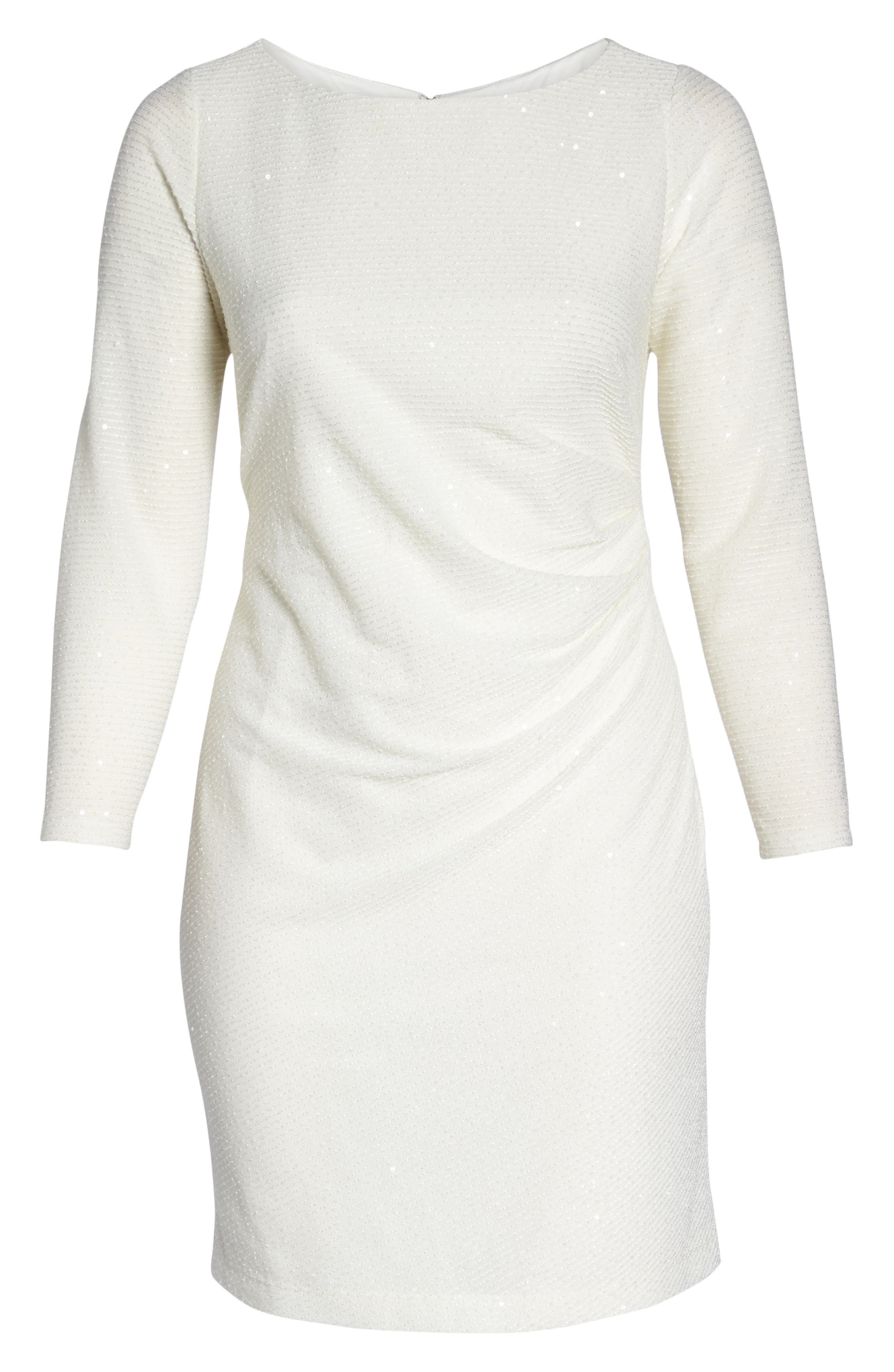 Sequin & Ruched Body-Con Dress,                             Alternate thumbnail 7, color,                             IVORY