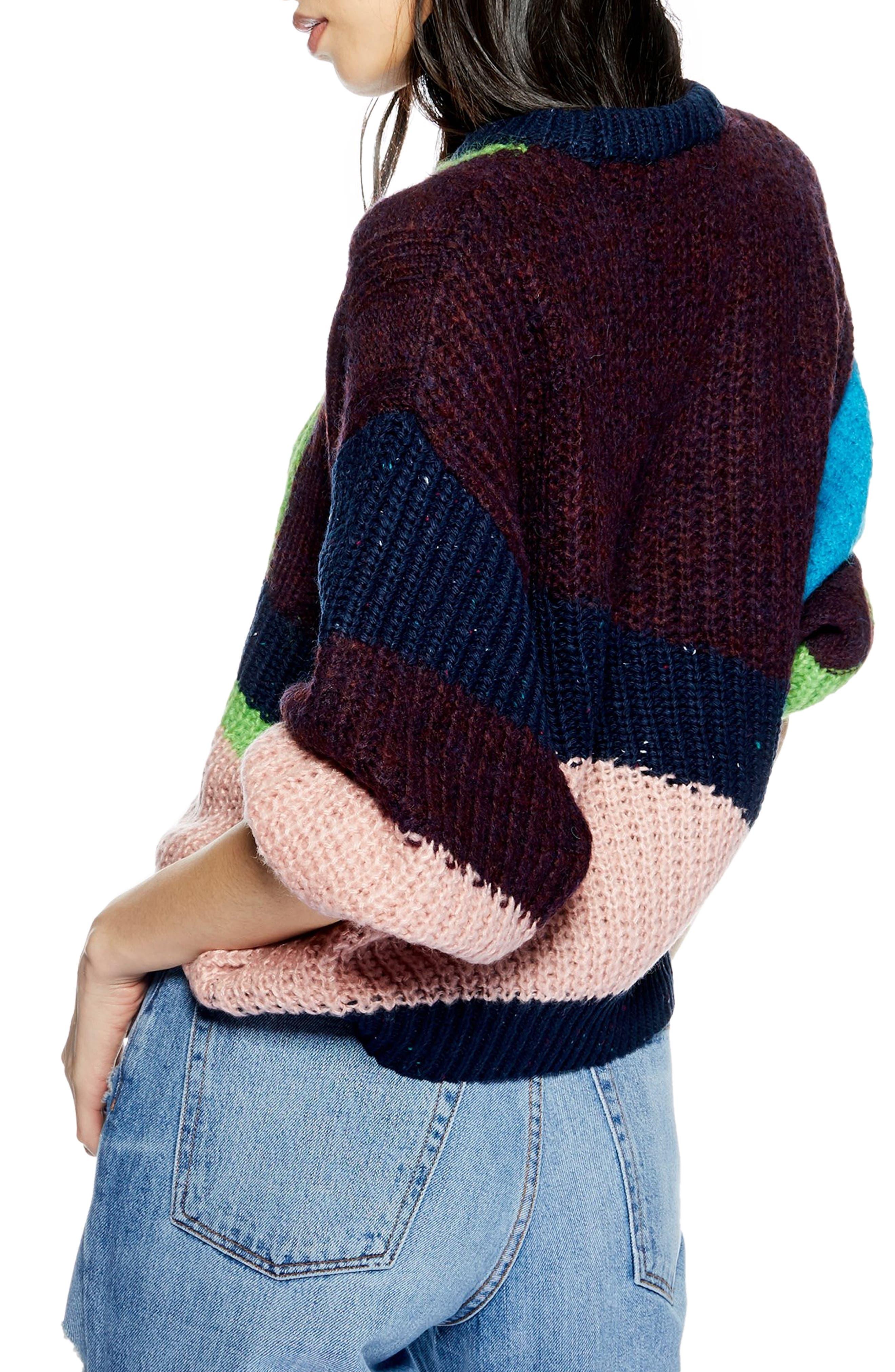 TOPSHOP,                             Colorblock Sweater,                             Alternate thumbnail 2, color,                             002