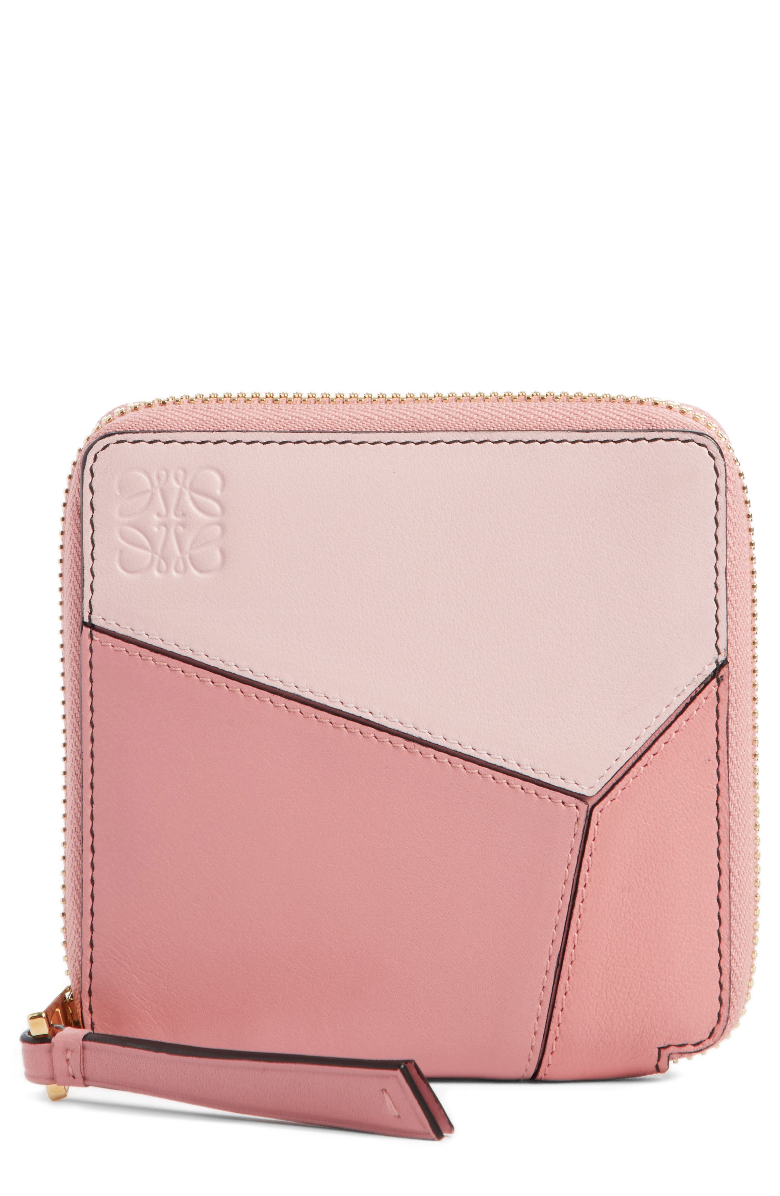 Colorblock Puzzle French Wallet,                             Main thumbnail 1, color,                             MULTI PINK
