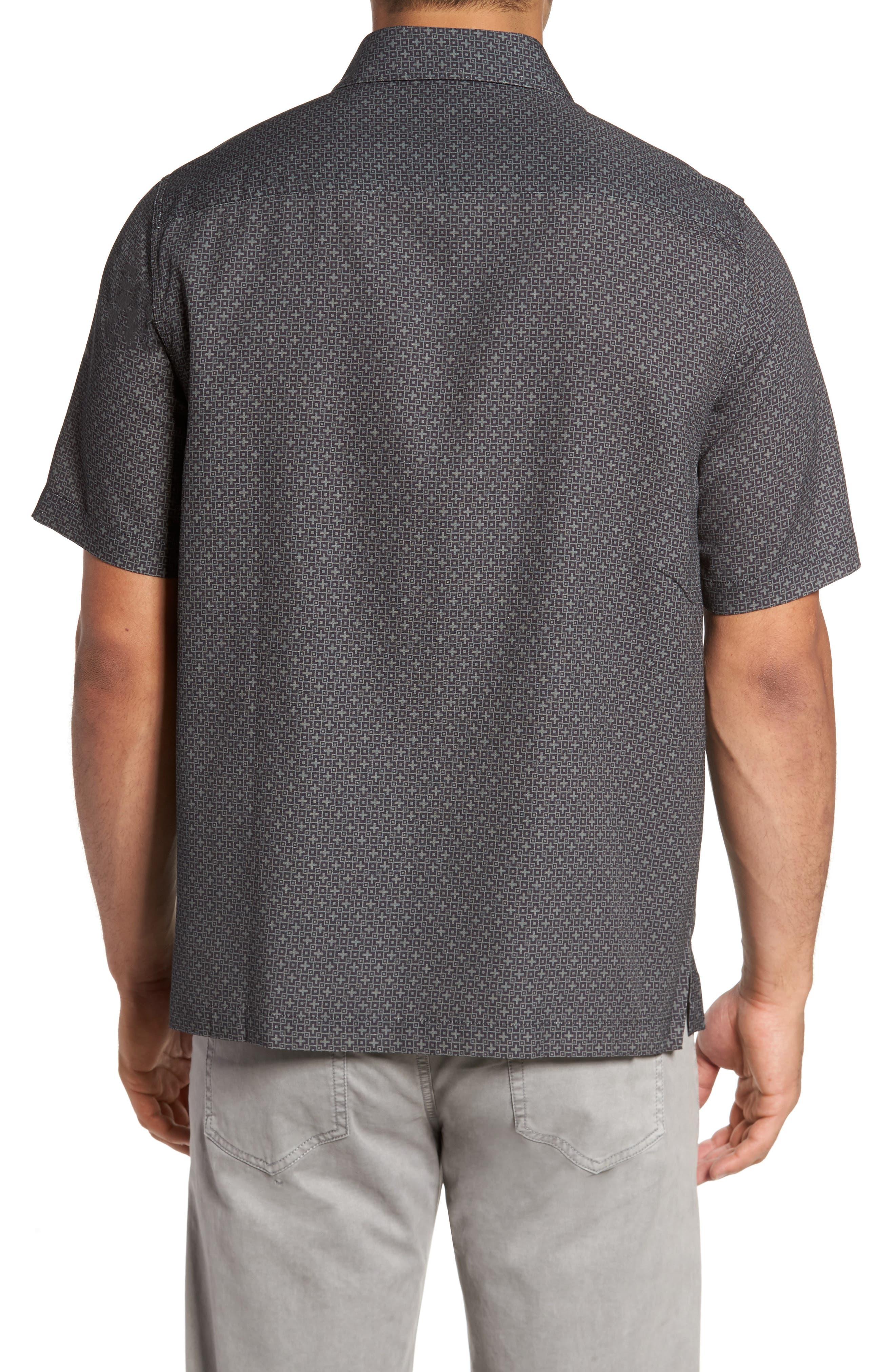 Everest Print Silk Blend Sport Shirt,                             Alternate thumbnail 4, color,