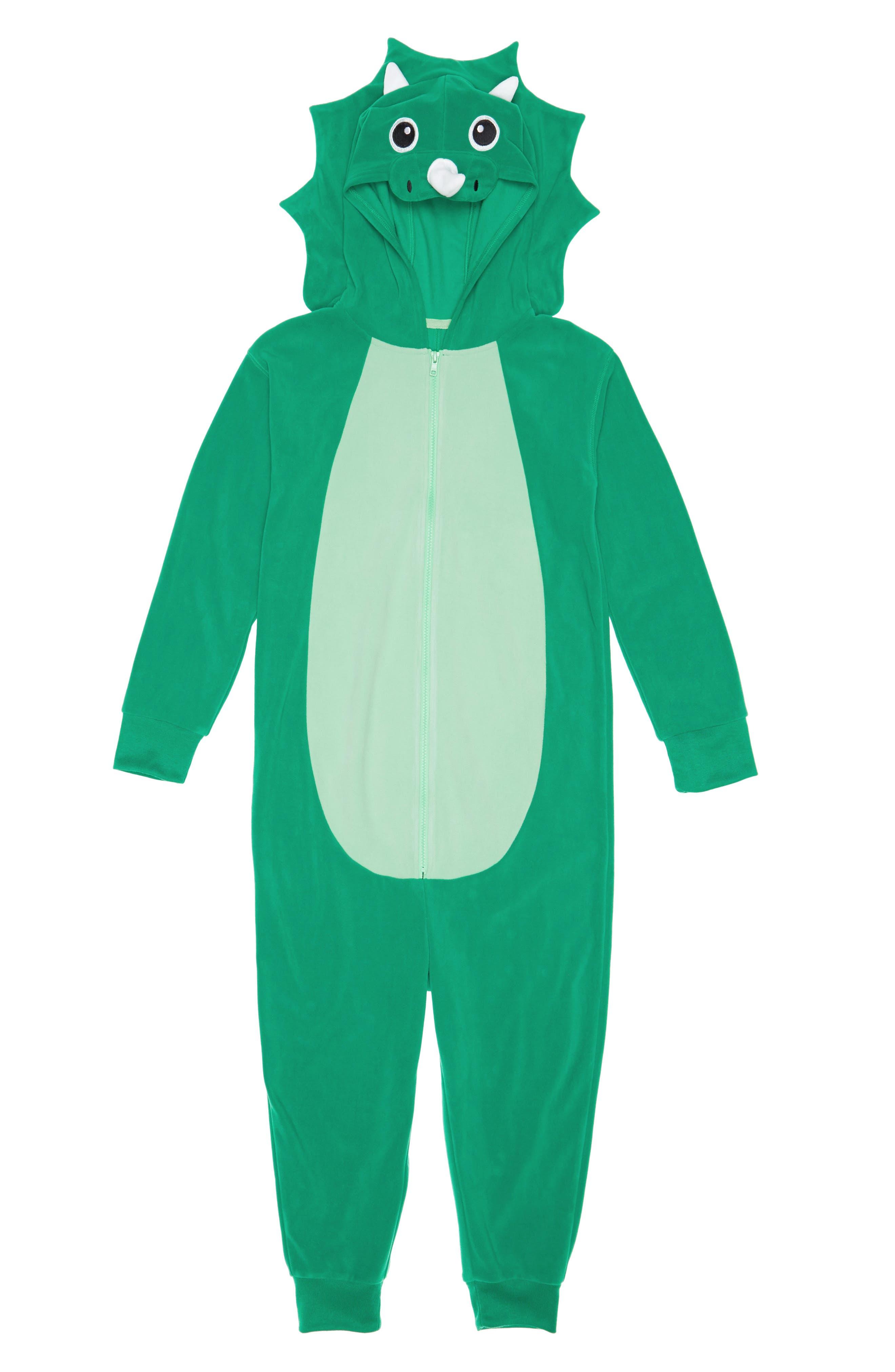 Animal One-Piece Hooded Pajamas,                             Main thumbnail 1, color,                             GREEN GENIUS DINO