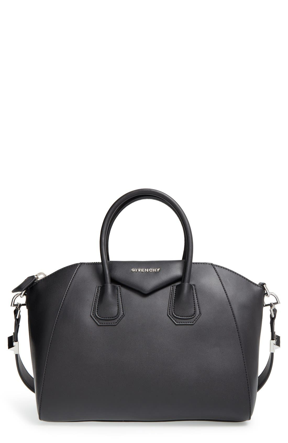 'Medium Antigona' Leather Satchel,                         Main,                         color, BLACK