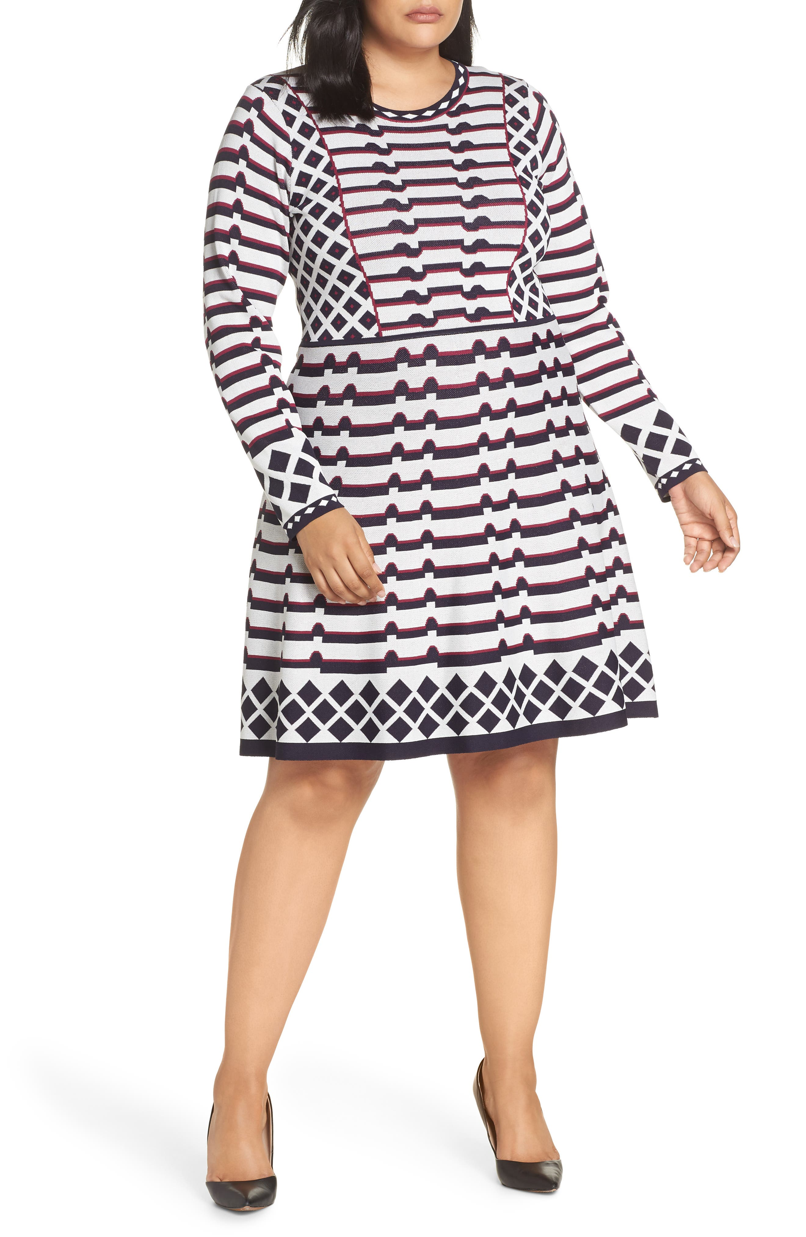 Artwork Jacquard Sweater Dress,                             Main thumbnail 1, color,                             NAVY