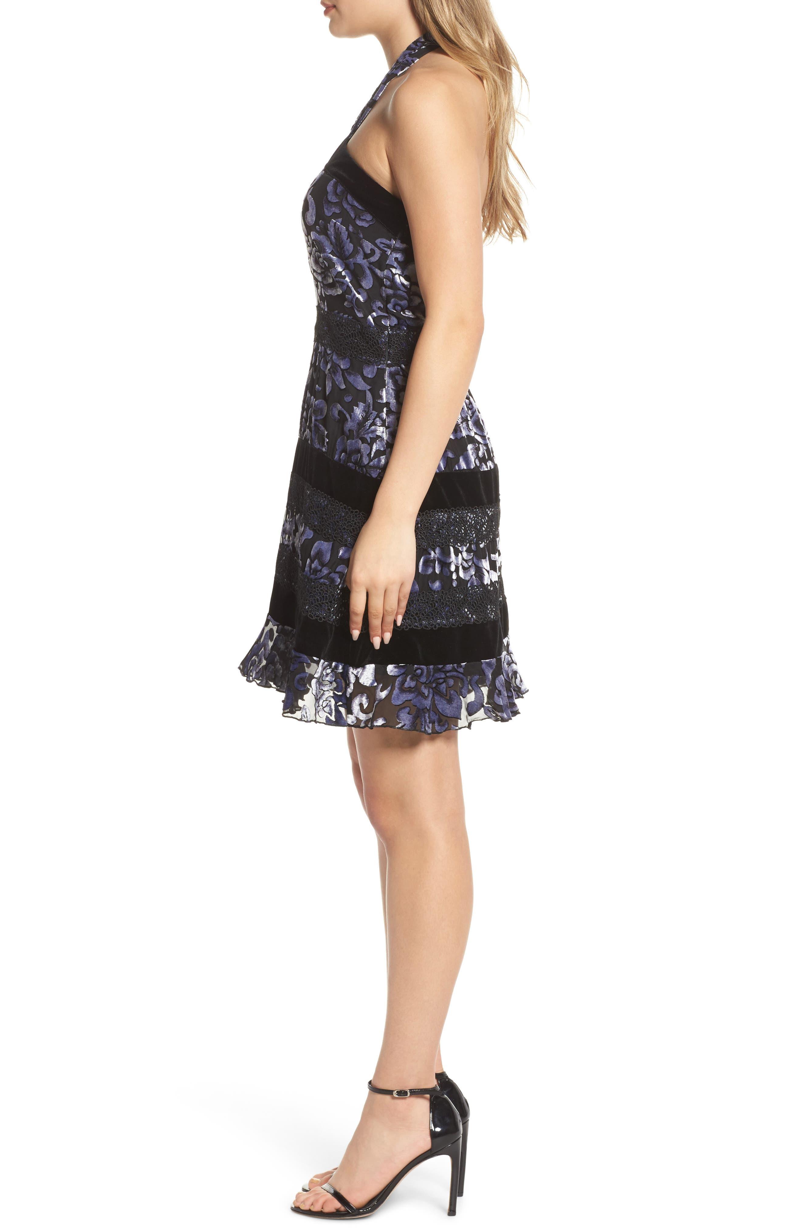 Velvet Halter Neck Fit & Flare Dress,                             Alternate thumbnail 3, color,