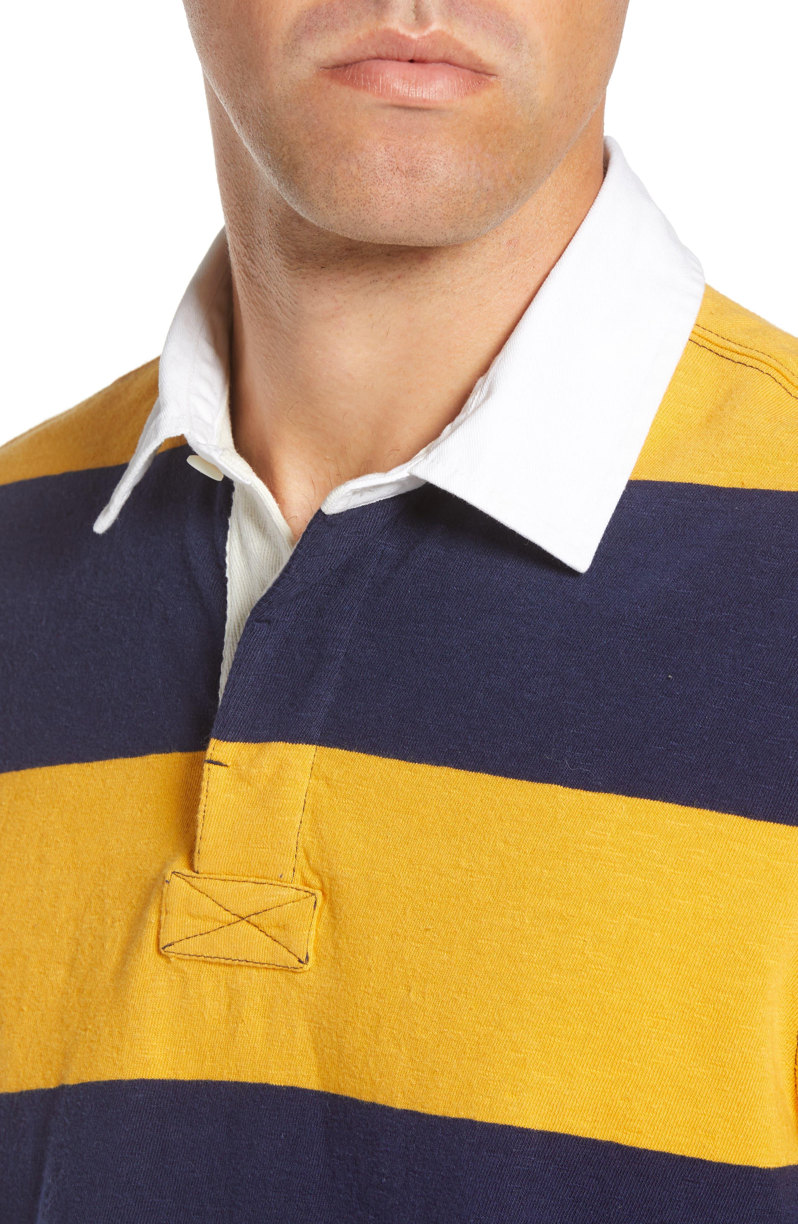 Slub Stripe Long Sleeve Rugby Polo,                             Alternate thumbnail 4, color,                             NAVY IRIS GOLD