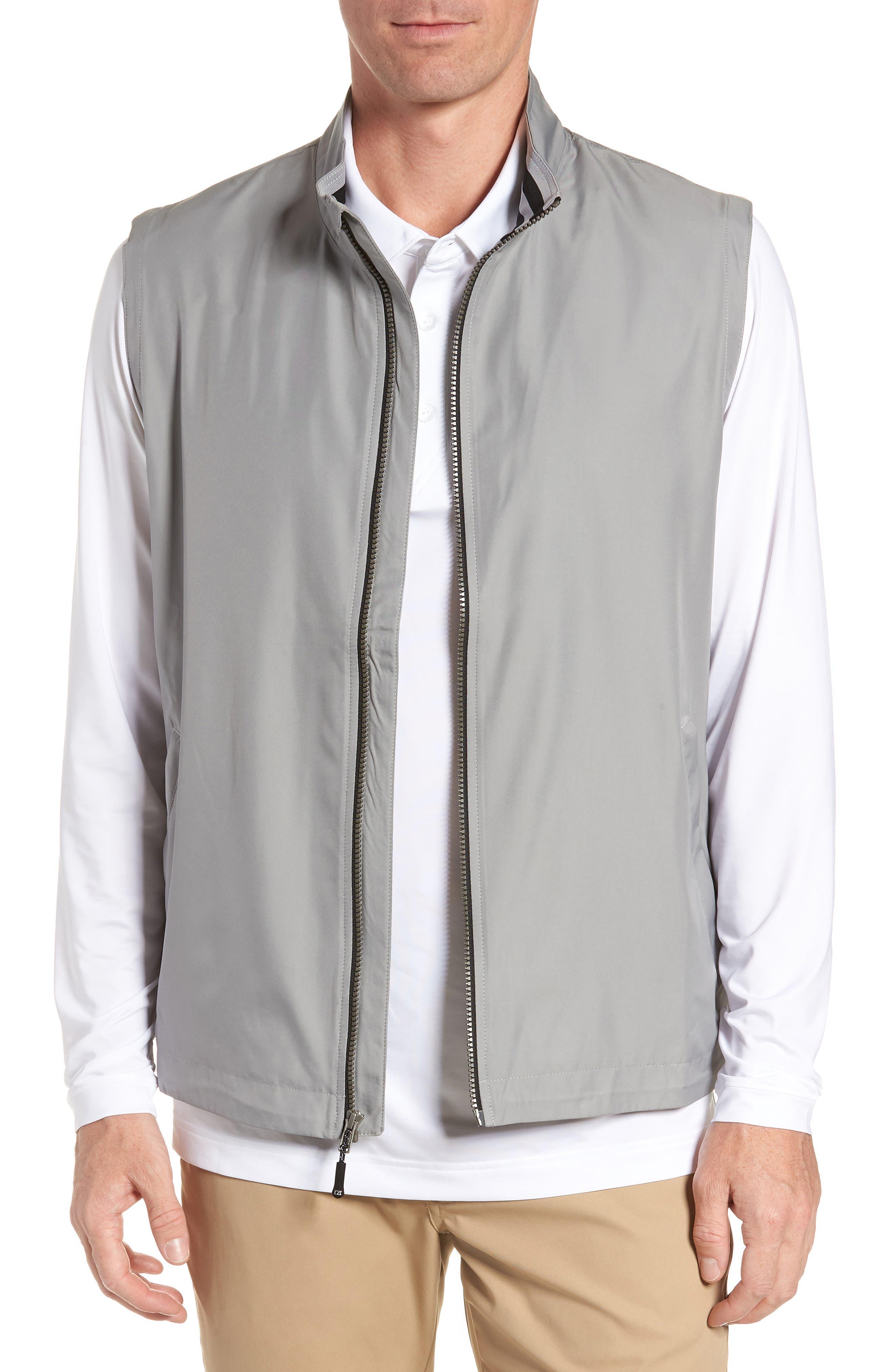 Cutter & Buck Nine Iron Drytec Zip Vest, Grey