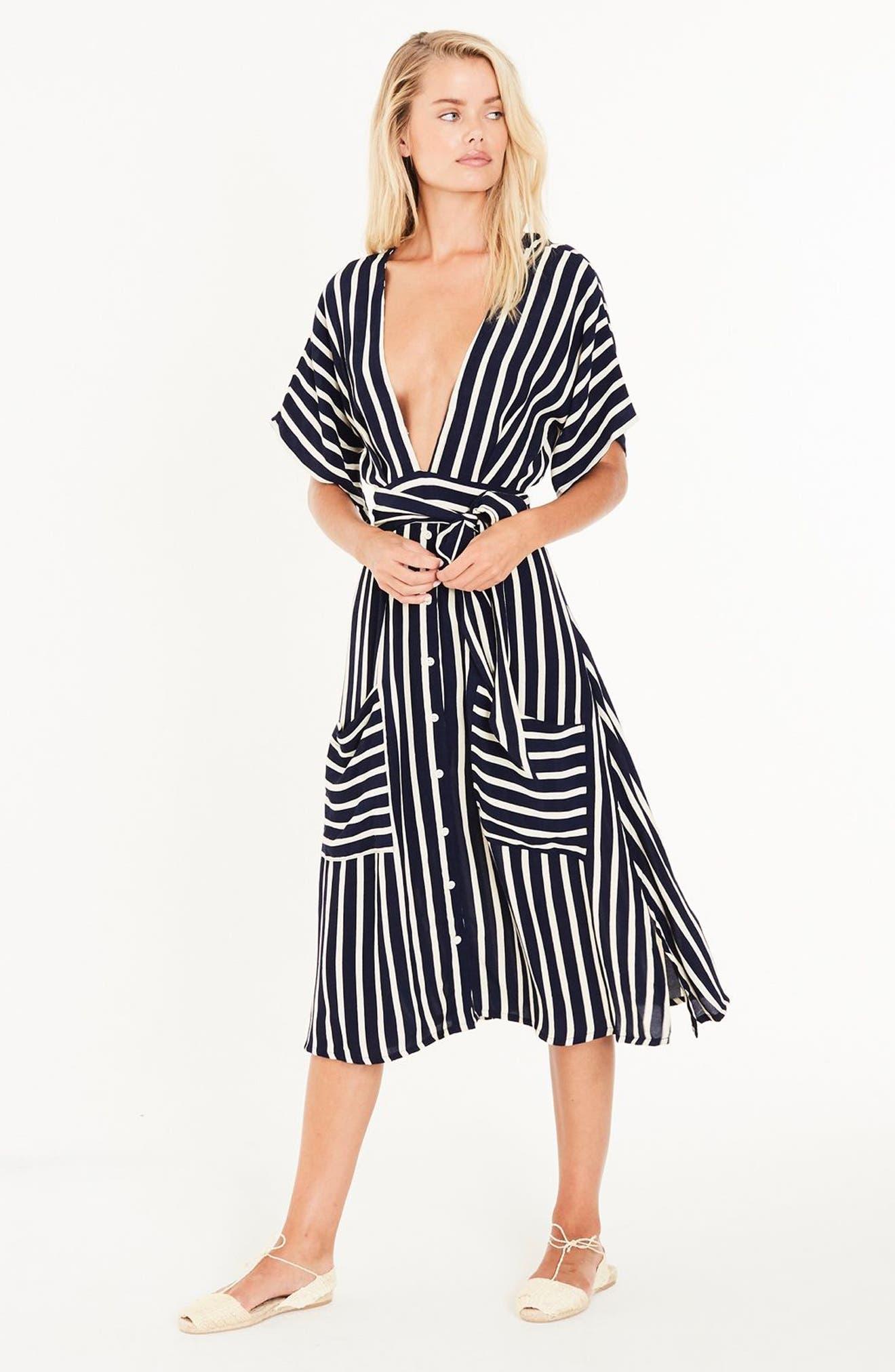 Milan Stripe Midi Dress,                             Alternate thumbnail 8, color,                             401