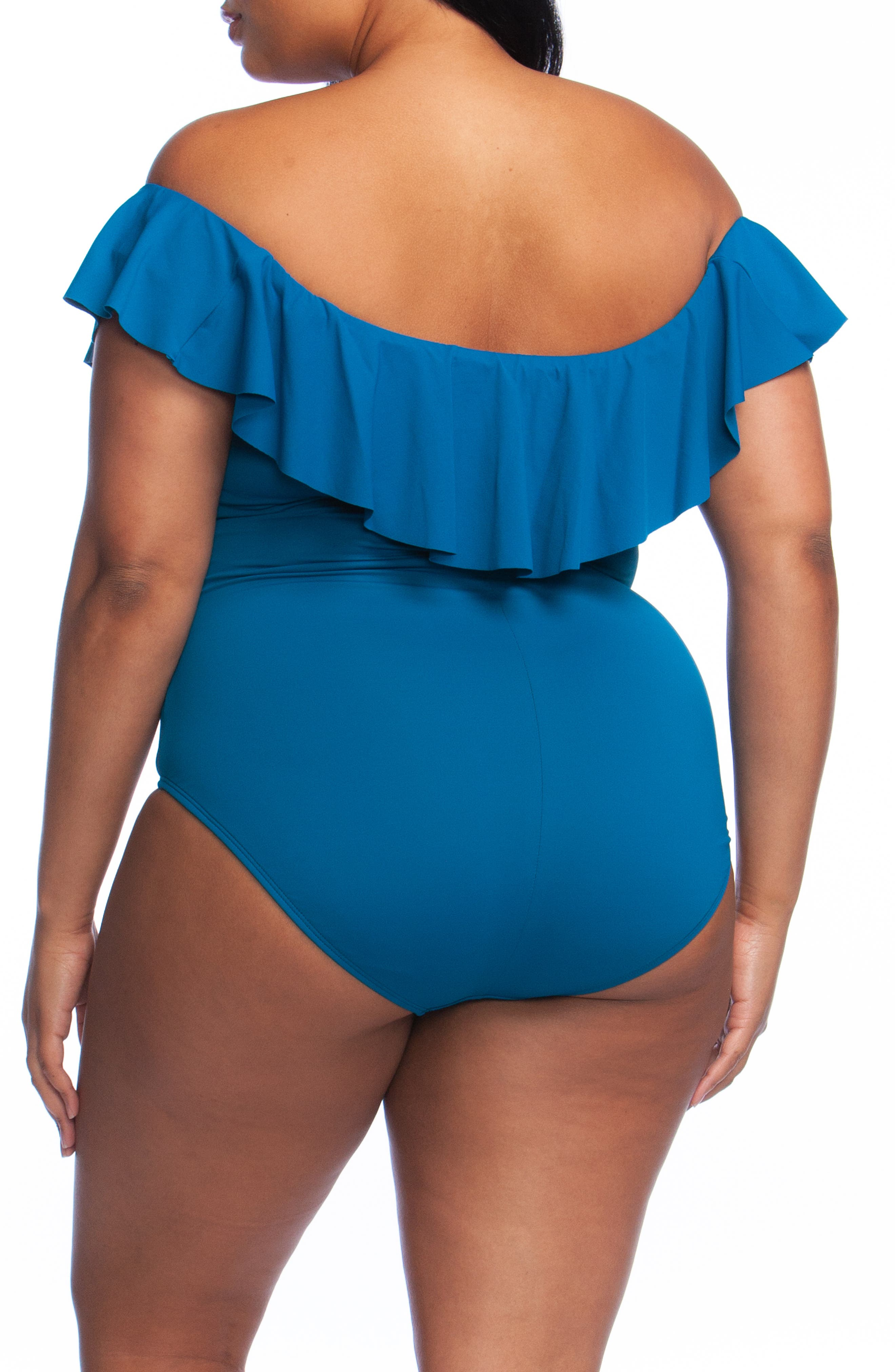 Off the Shoulder One-Piece Swimsuit,                             Alternate thumbnail 2, color,                             MARINA