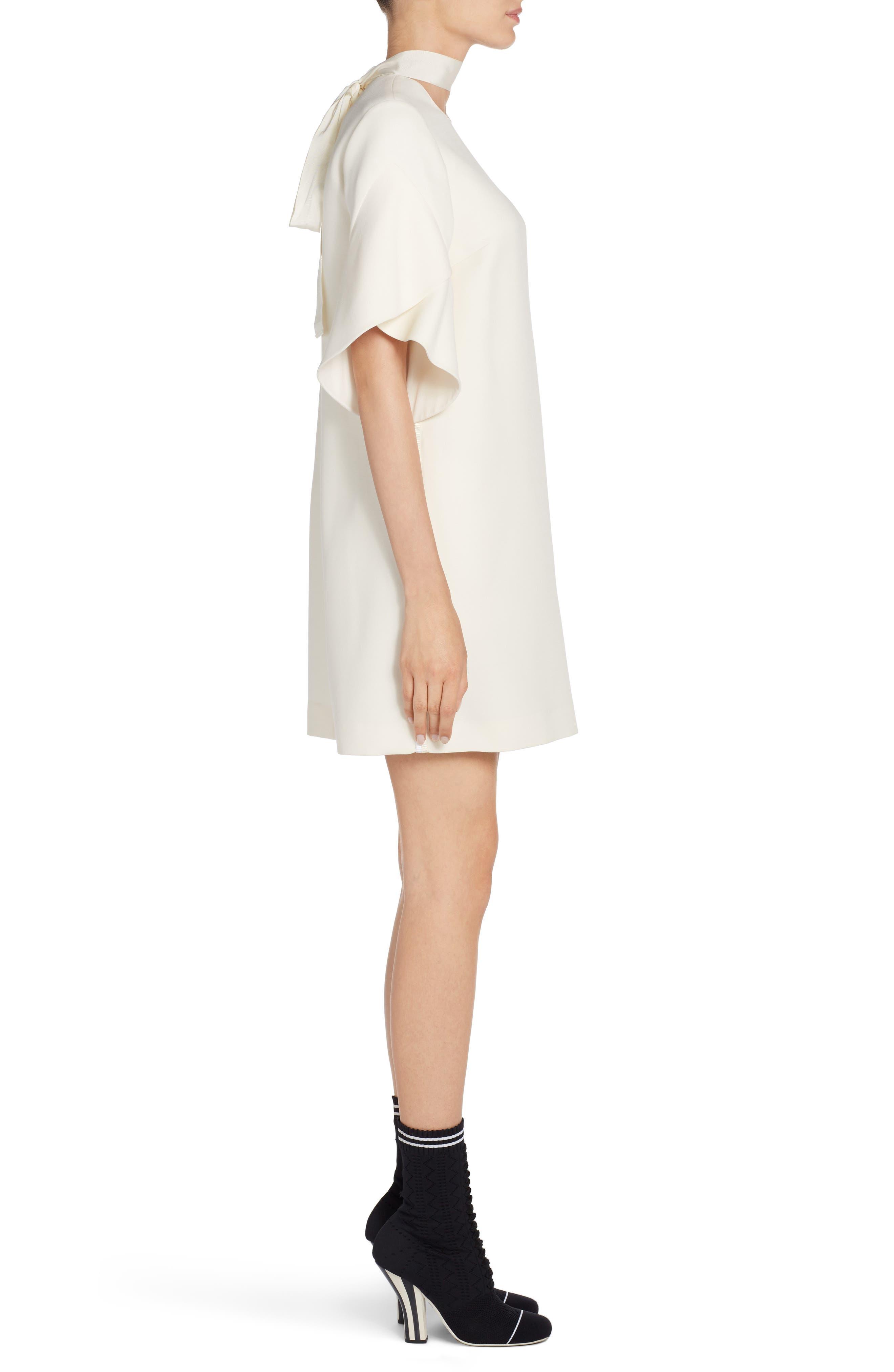 Wool & Silk Gazar Shift Dress,                             Alternate thumbnail 3, color,