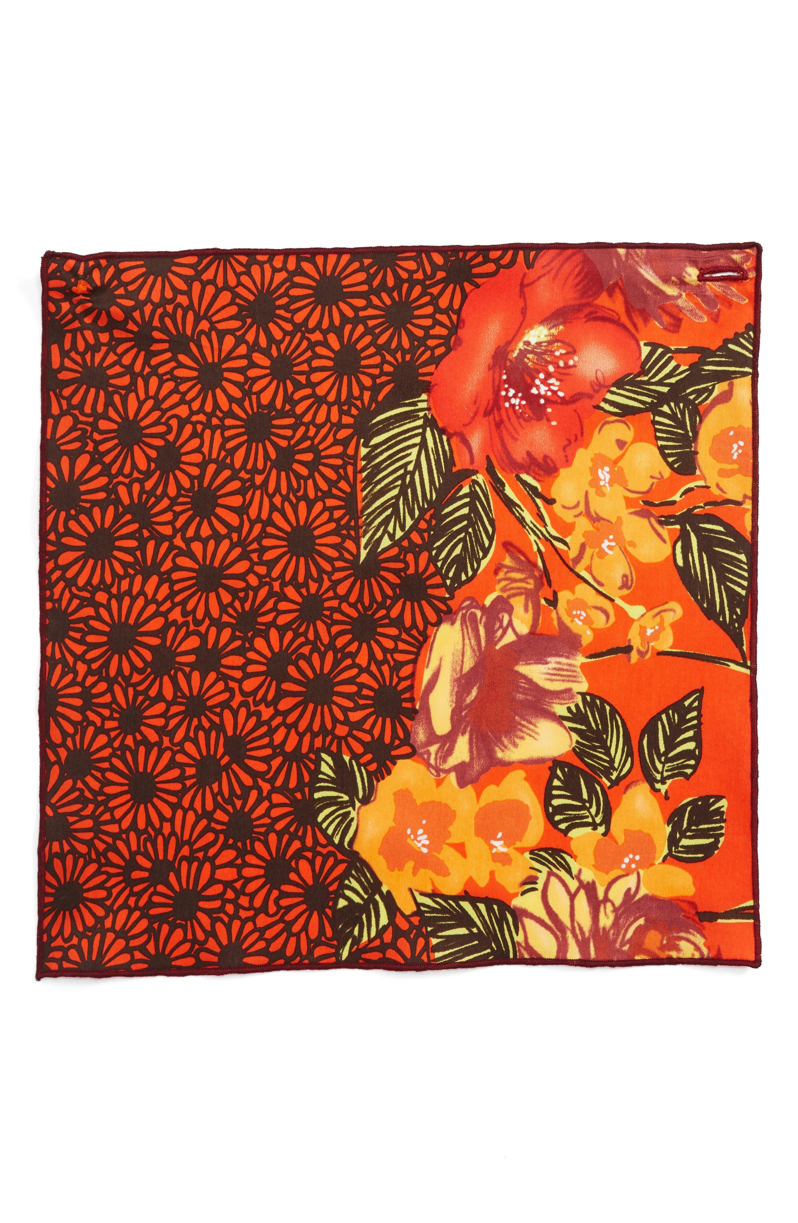 Orange Tree Cotton Pocket Square,                             Alternate thumbnail 2, color,                             800