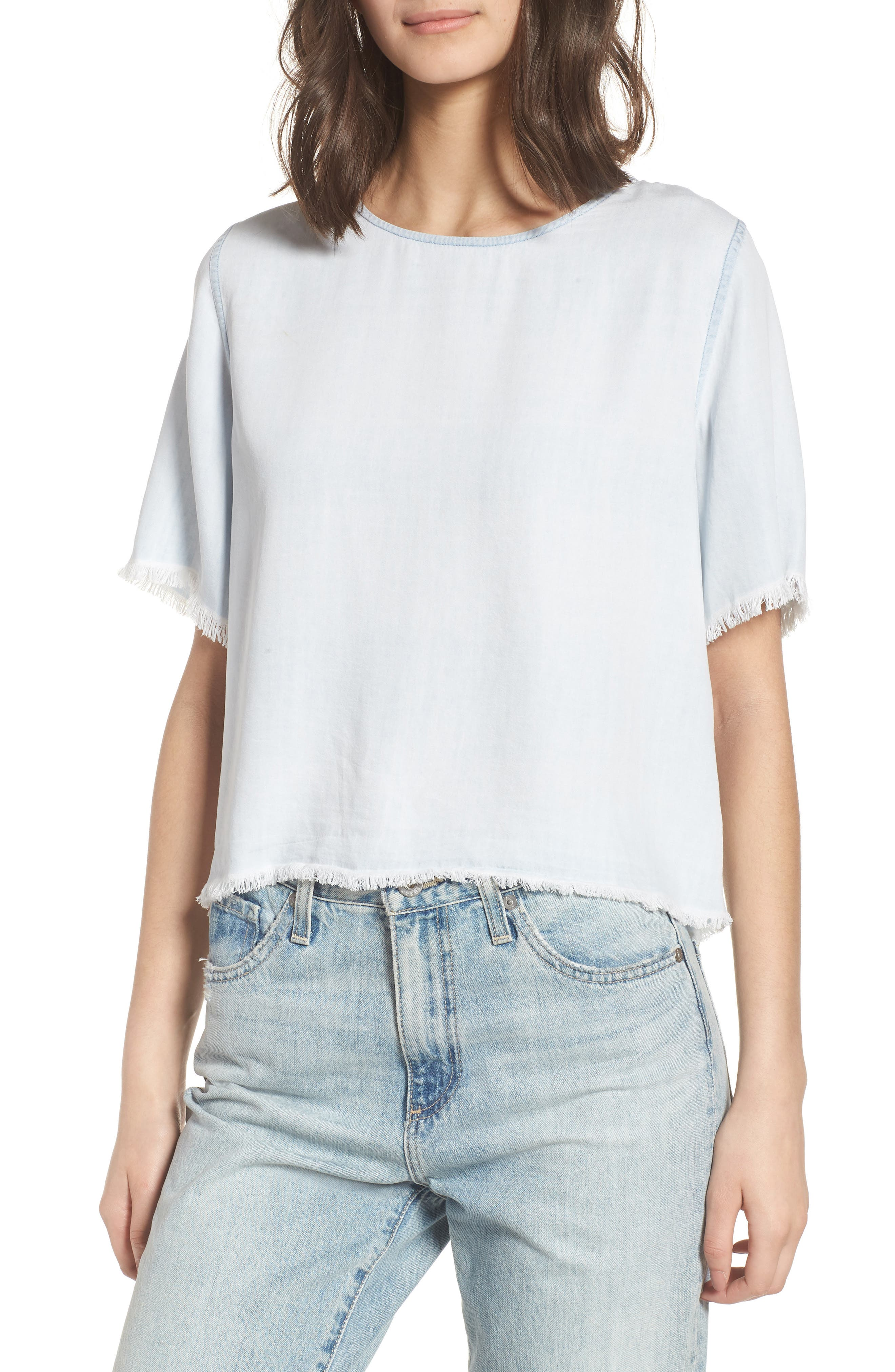 Fort Tilden Fray Chambray Top,                         Main,                         color, BLEACH