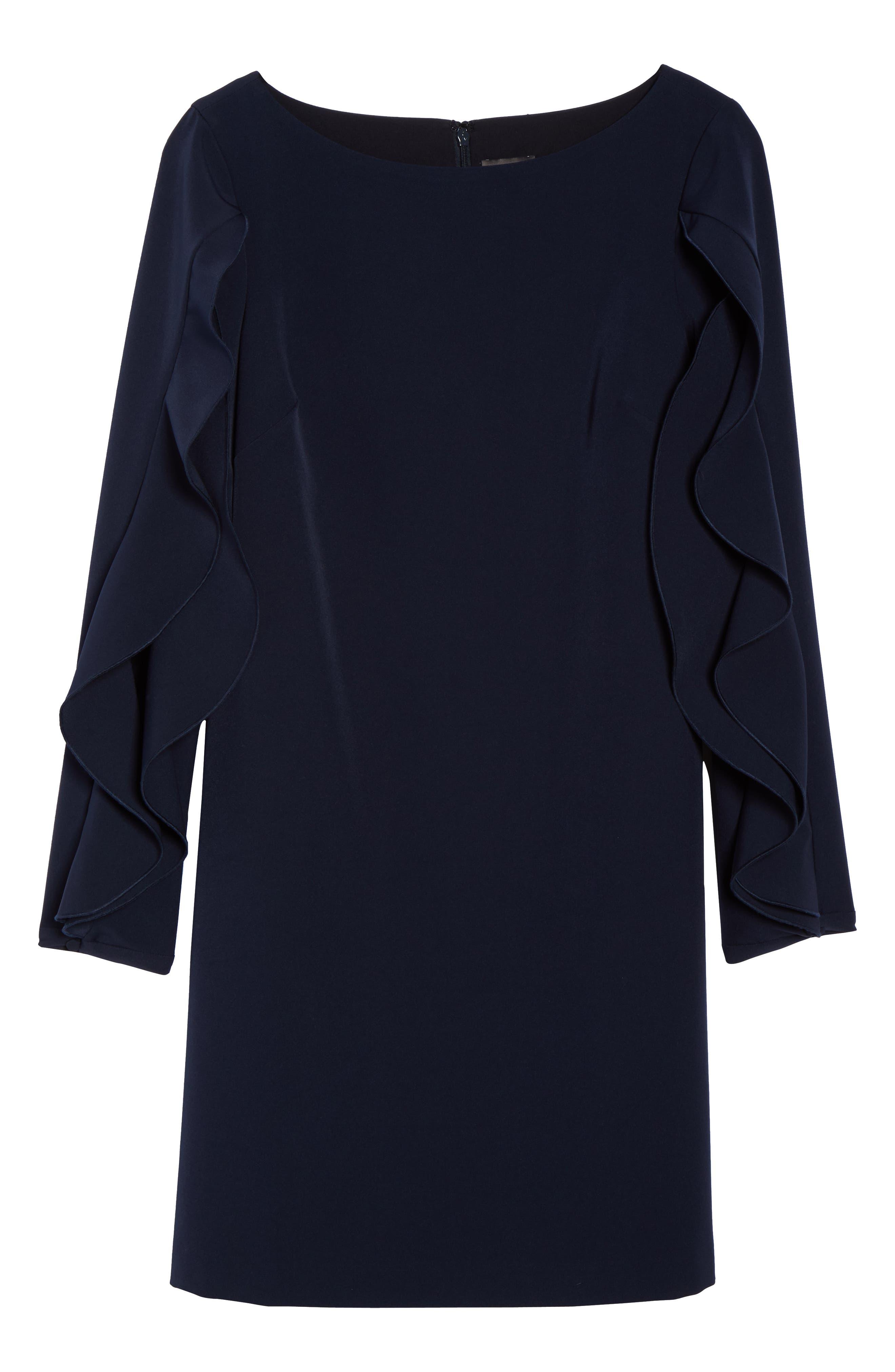 Crepe Ruffle Sleeve Shift Dress,                             Alternate thumbnail 7, color,                             410