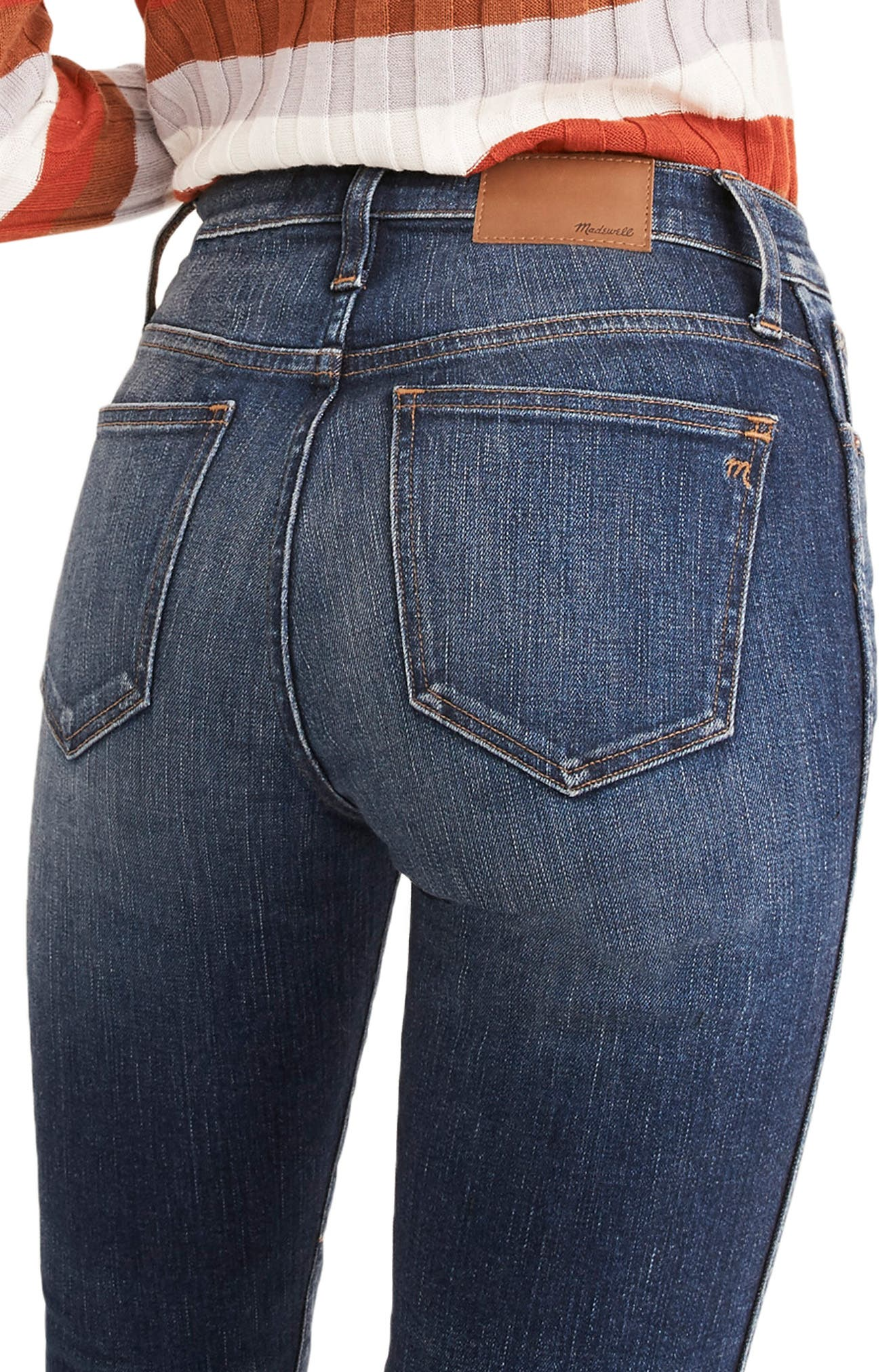 High Waist Slim Straight Leg Jeans,                             Alternate thumbnail 3, color,                             HAMMOND