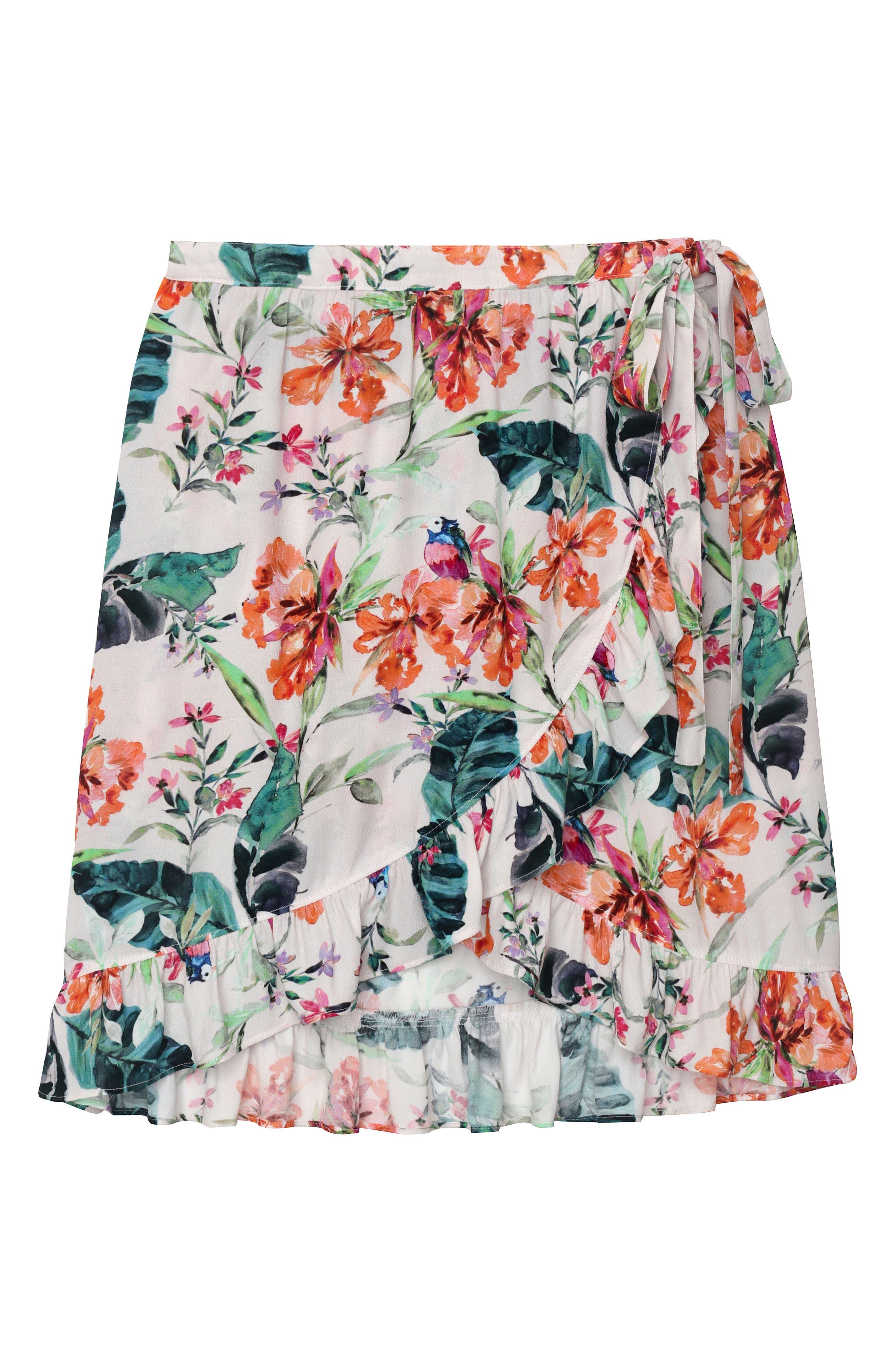 Tropicana Side Tie Ruffle Skirt,                             Alternate thumbnail 4, color,