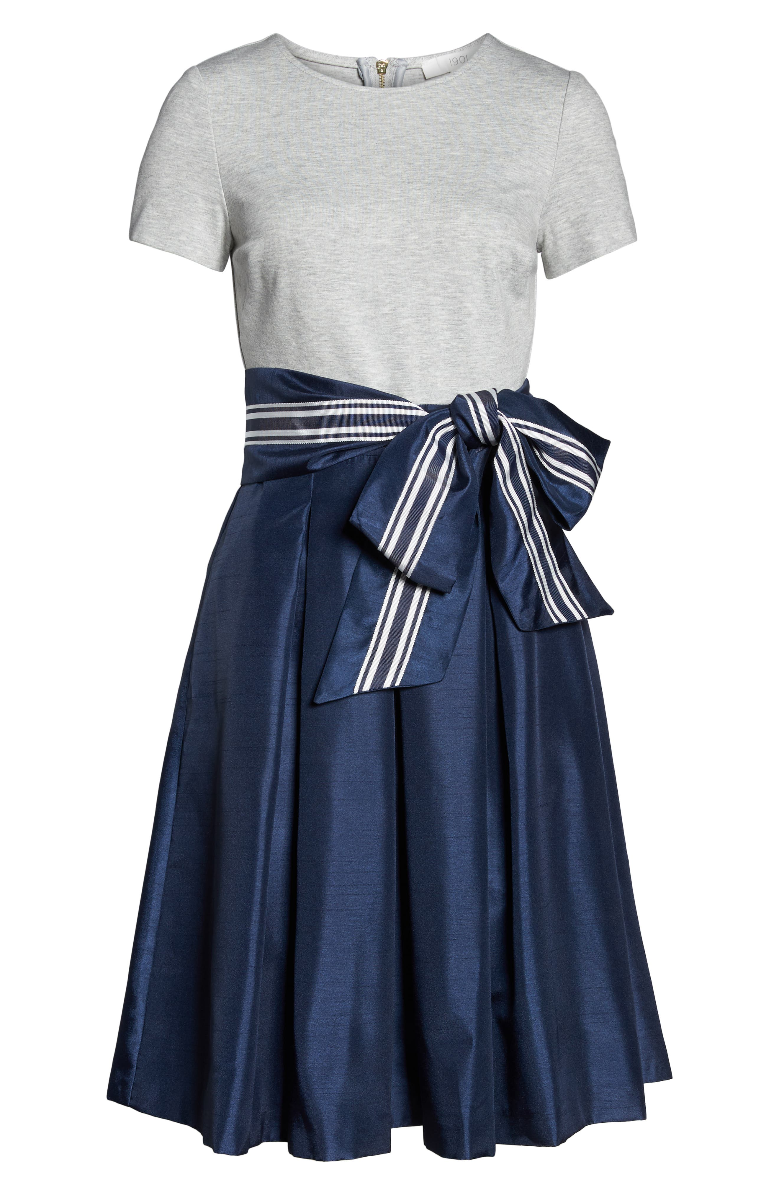 Mixed Media Dress,                             Alternate thumbnail 7, color,                             GREY- NAVY COLORBLOCK