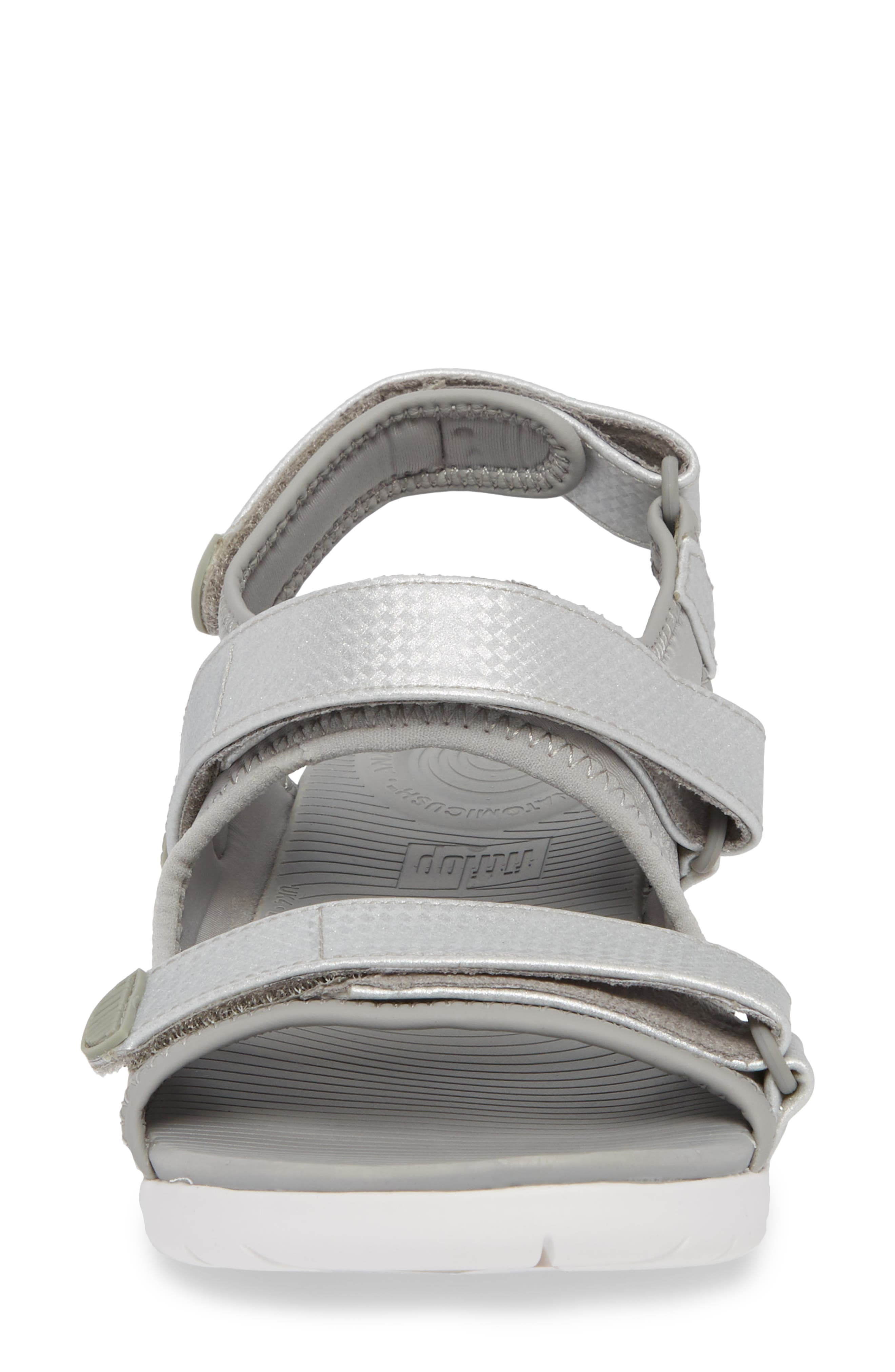 FitfFlop Neoflex<sup>™</sup> Back Strap Sandal,                             Alternate thumbnail 4, color,                             SOFT GREY/ SILVER LEATHER