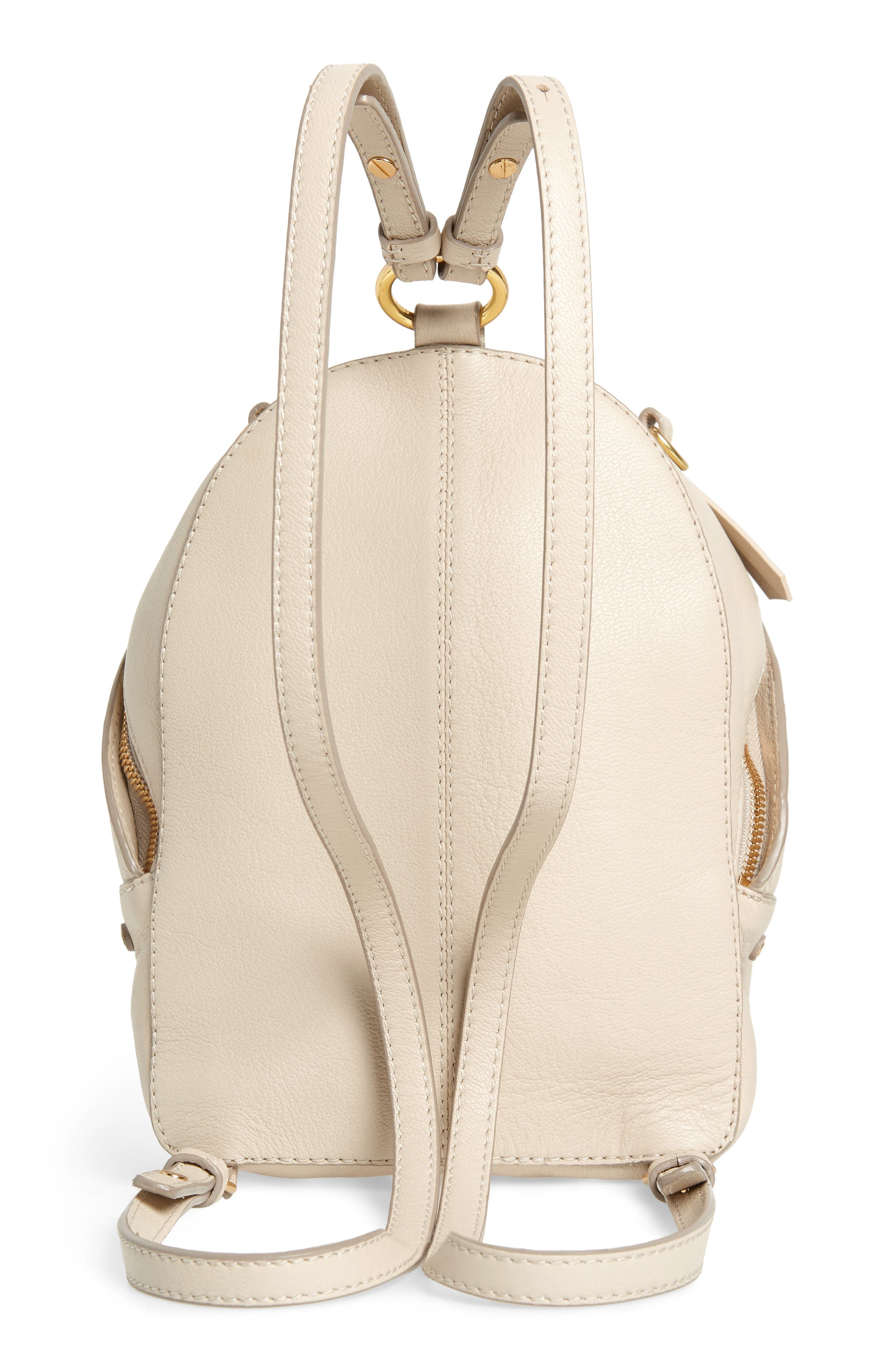 Mini Mino Leather Backpack,                             Alternate thumbnail 4, color,                             CEMENT BEIGE