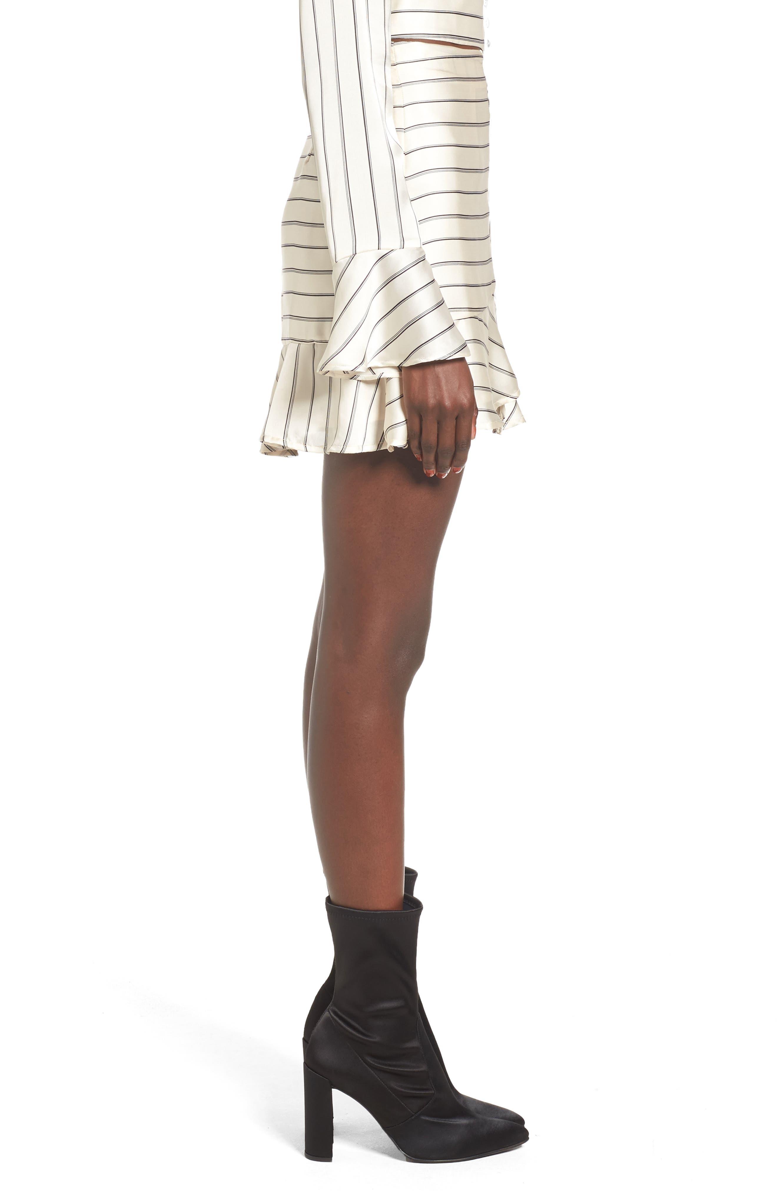 Ruffle Pinstripe Skirt,                             Alternate thumbnail 3, color,                             902