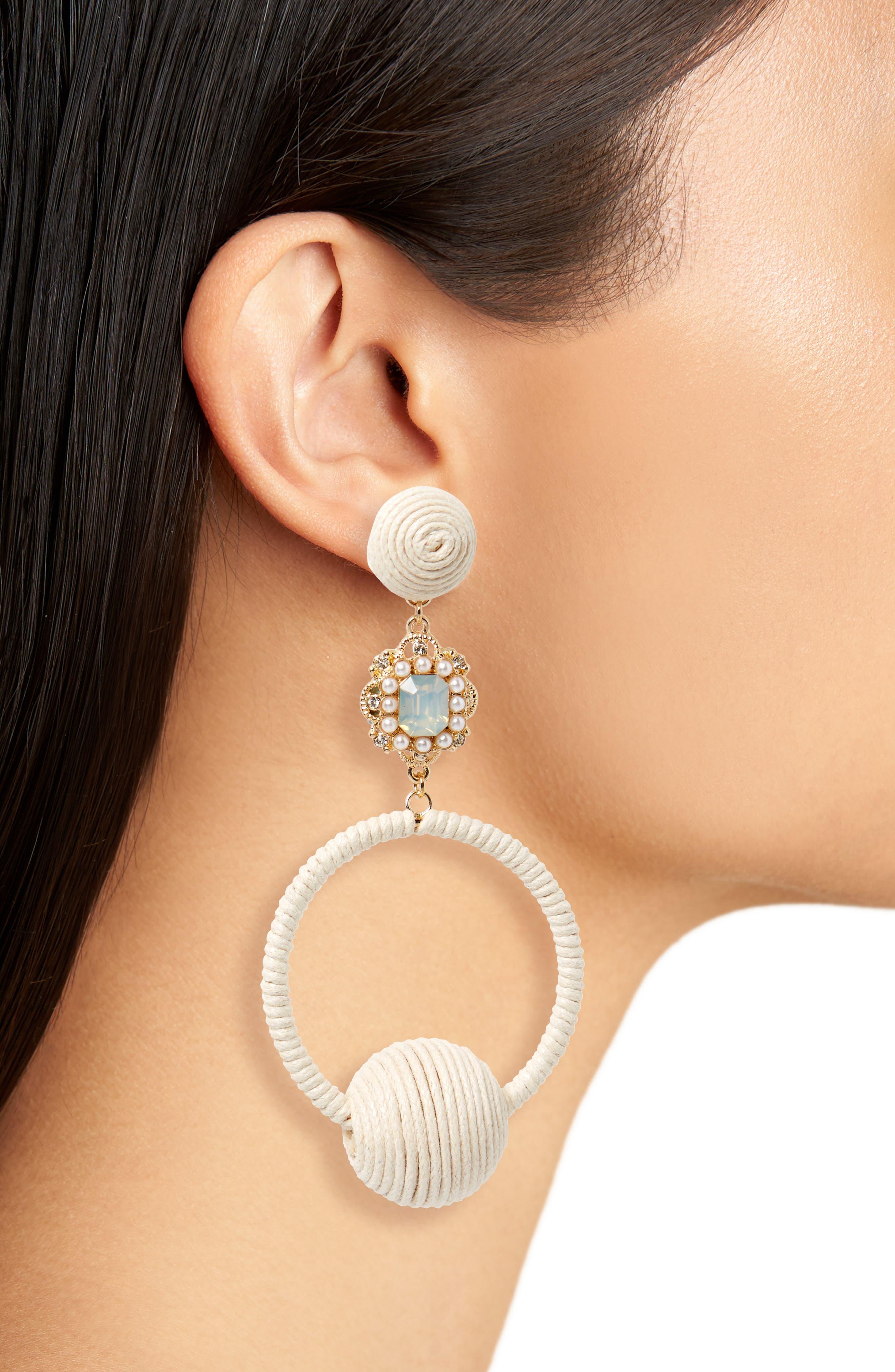 String Wrapped Crystal Hoop Earrings,                             Alternate thumbnail 2, color,                             710