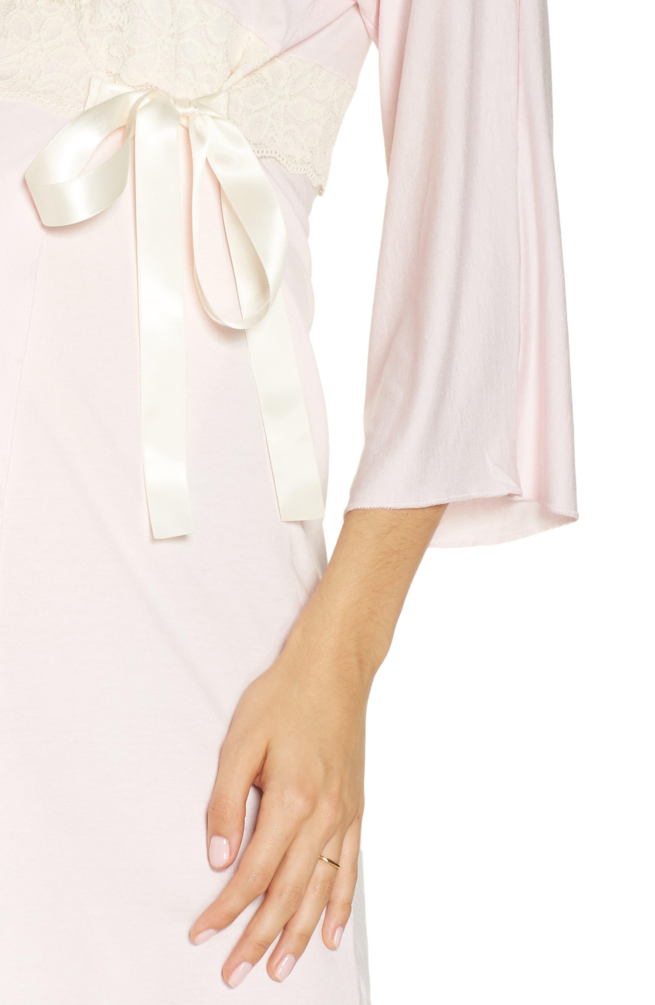 Lace Trim Maternity/Nursing Robe,                             Alternate thumbnail 4, color,                             PINK/ PEARL