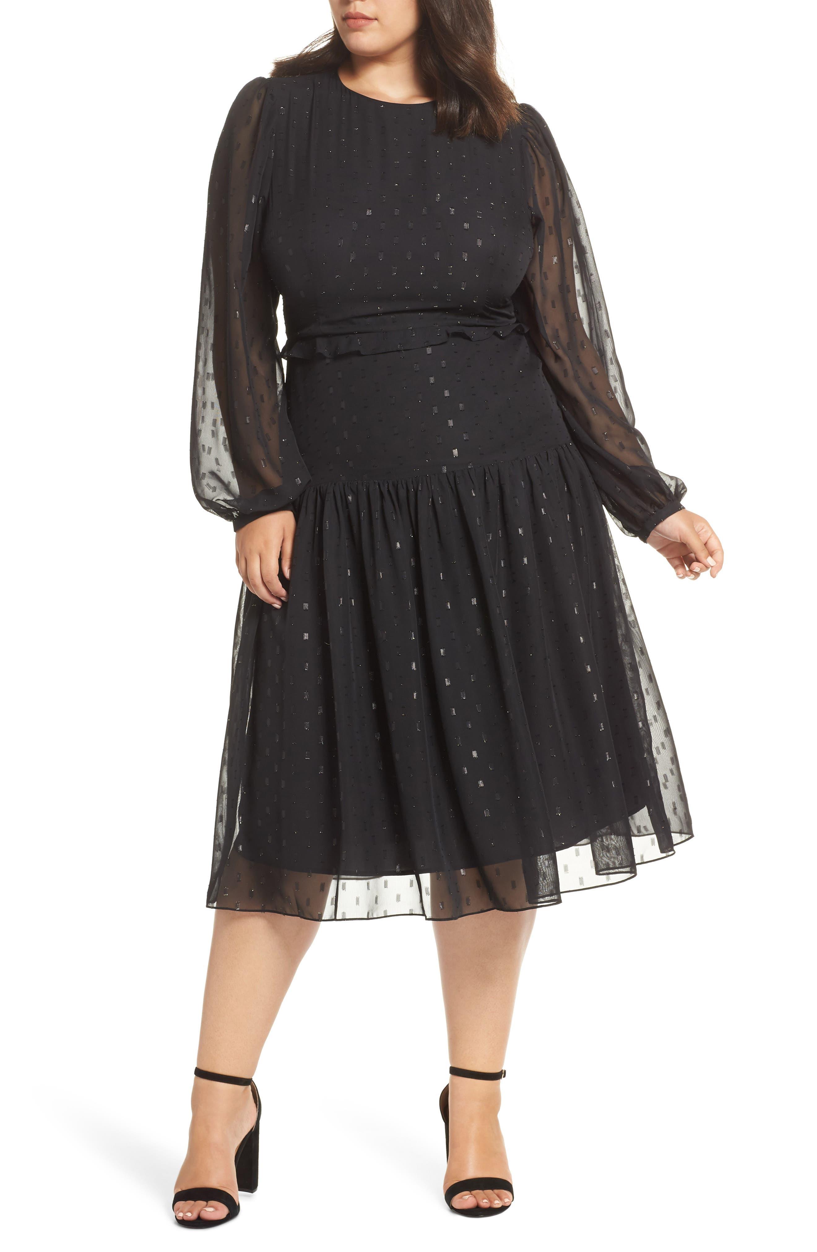 Fil Coupé Midi Dress,                             Alternate thumbnail 2, color,                             BLACK