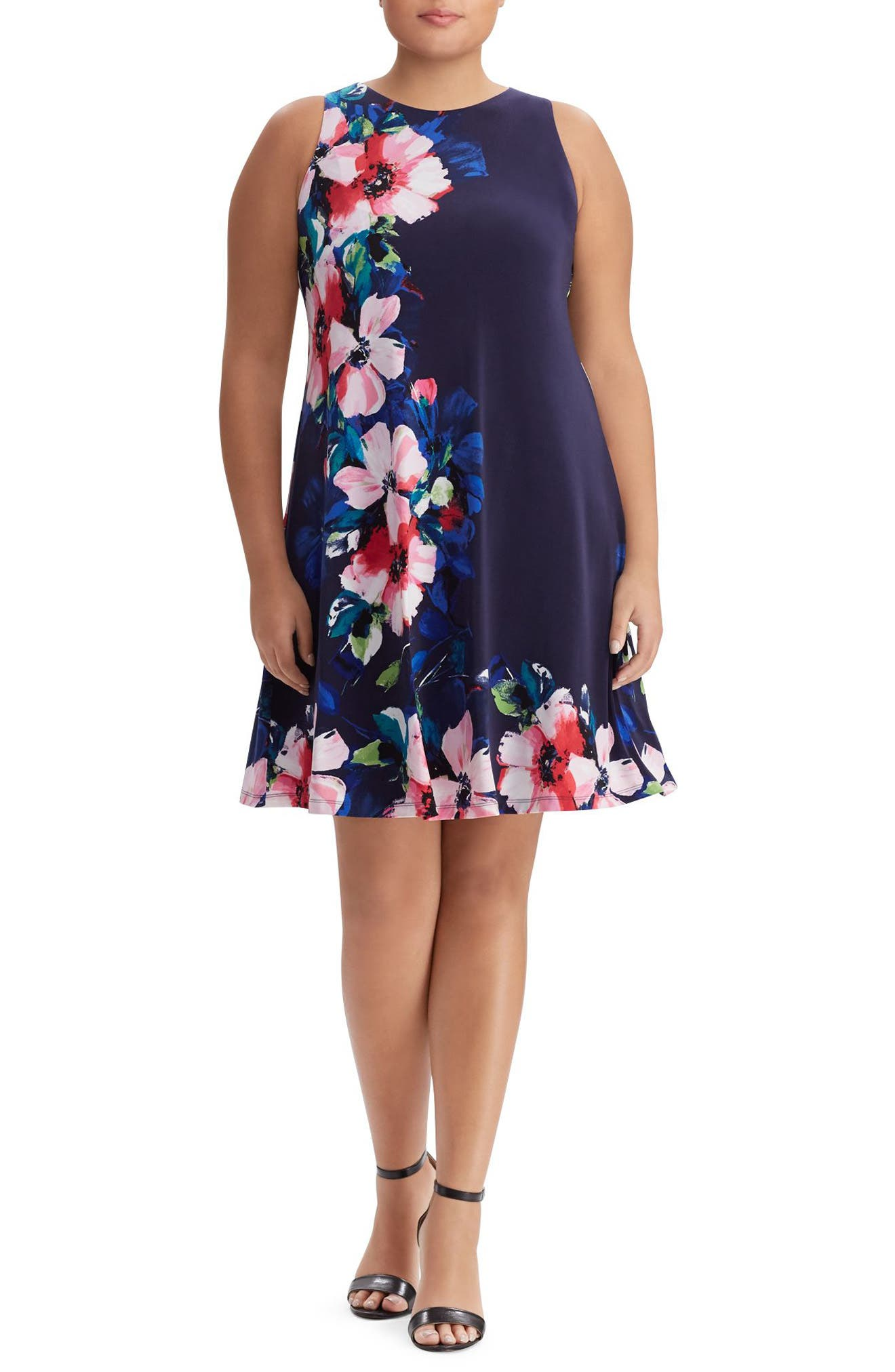 Floral Print A-Line Jersey Dress,                             Main thumbnail 1, color,                             410