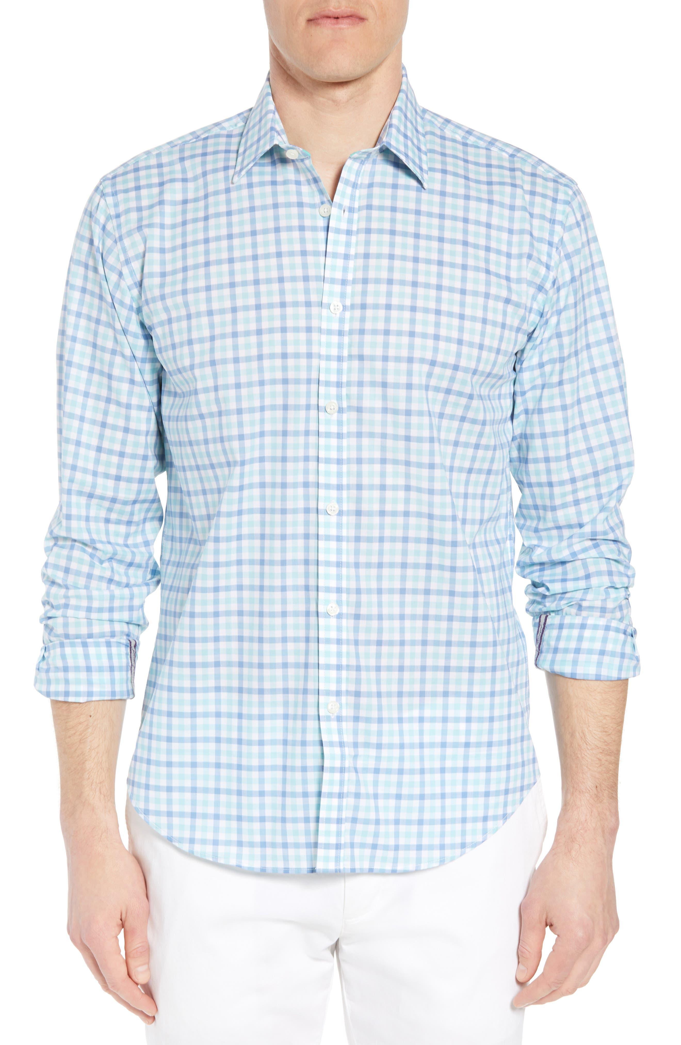 Slim Fit Check Sport Shirt,                             Main thumbnail 1, color,                             MEDIUM BLUE