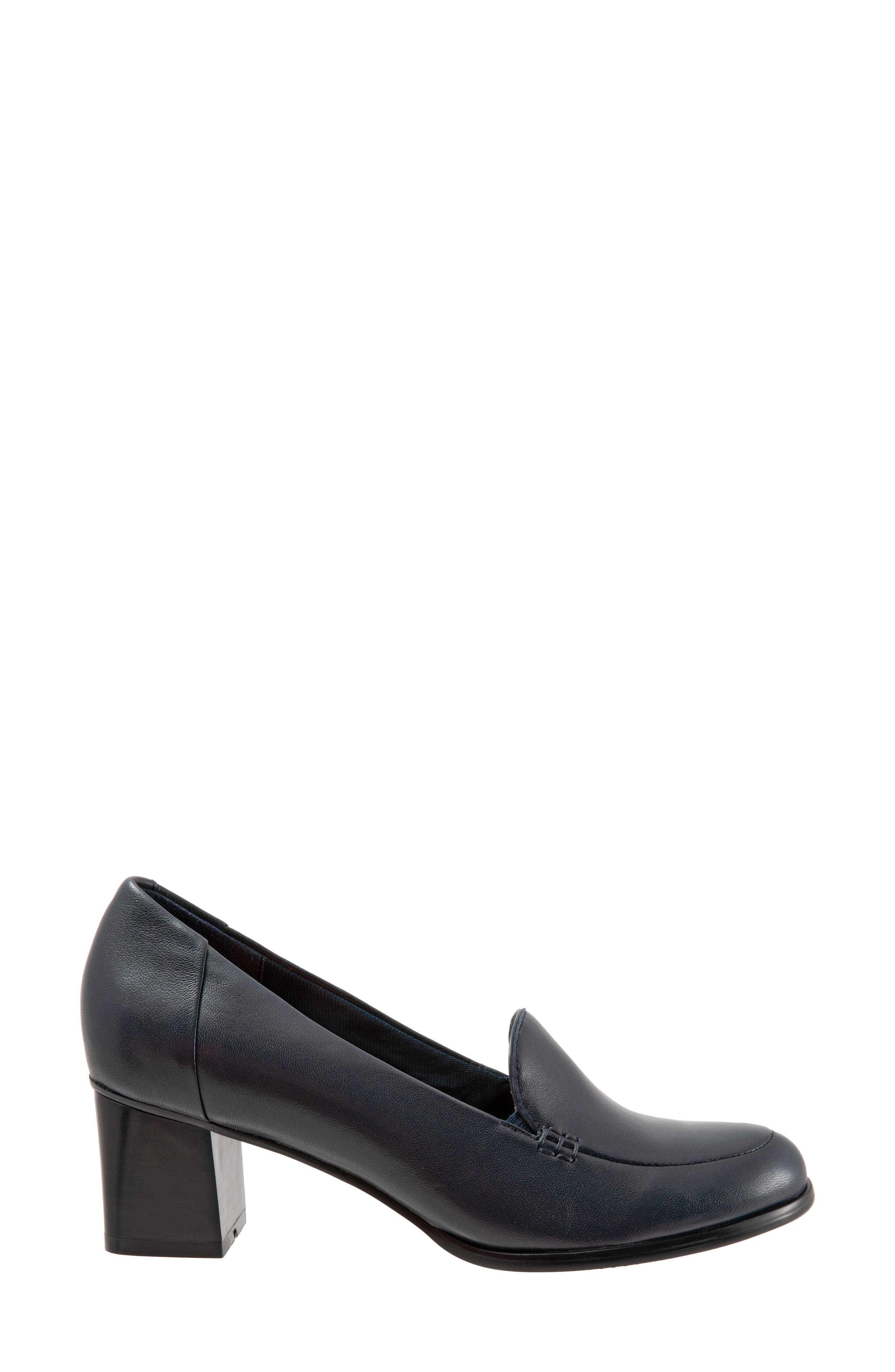 TROTTERS,                             Quincy Loafer Pump,                             Alternate thumbnail 3, color,                             NAVY LEATHER