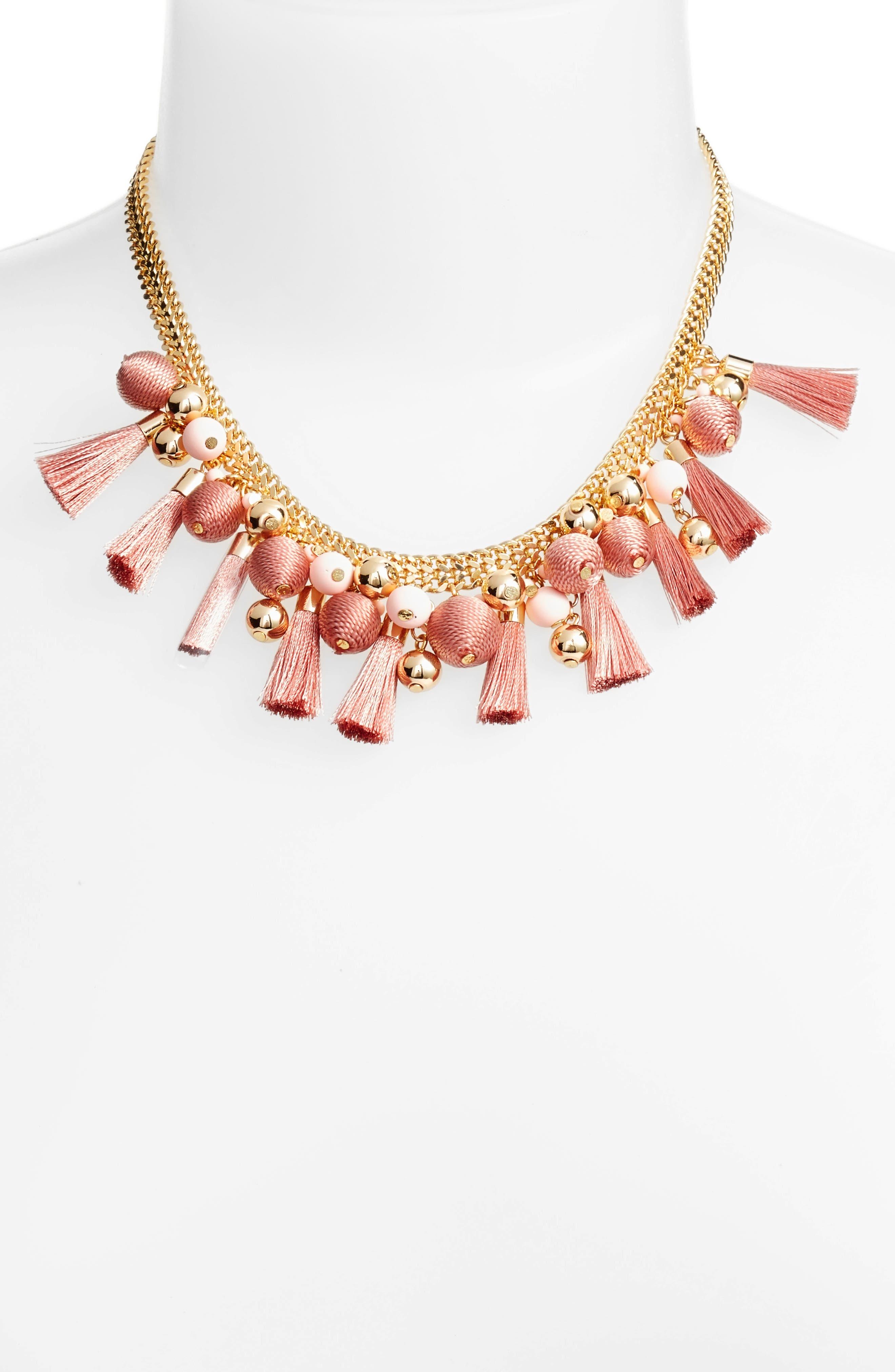 Bauble & Tassel Collar Necklace,                             Alternate thumbnail 4, color,