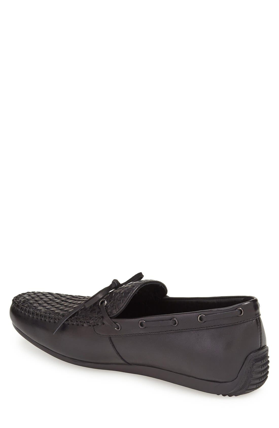 'Cezanne' Woven Tie Loafer,                             Alternate thumbnail 2, color,                             BLACK