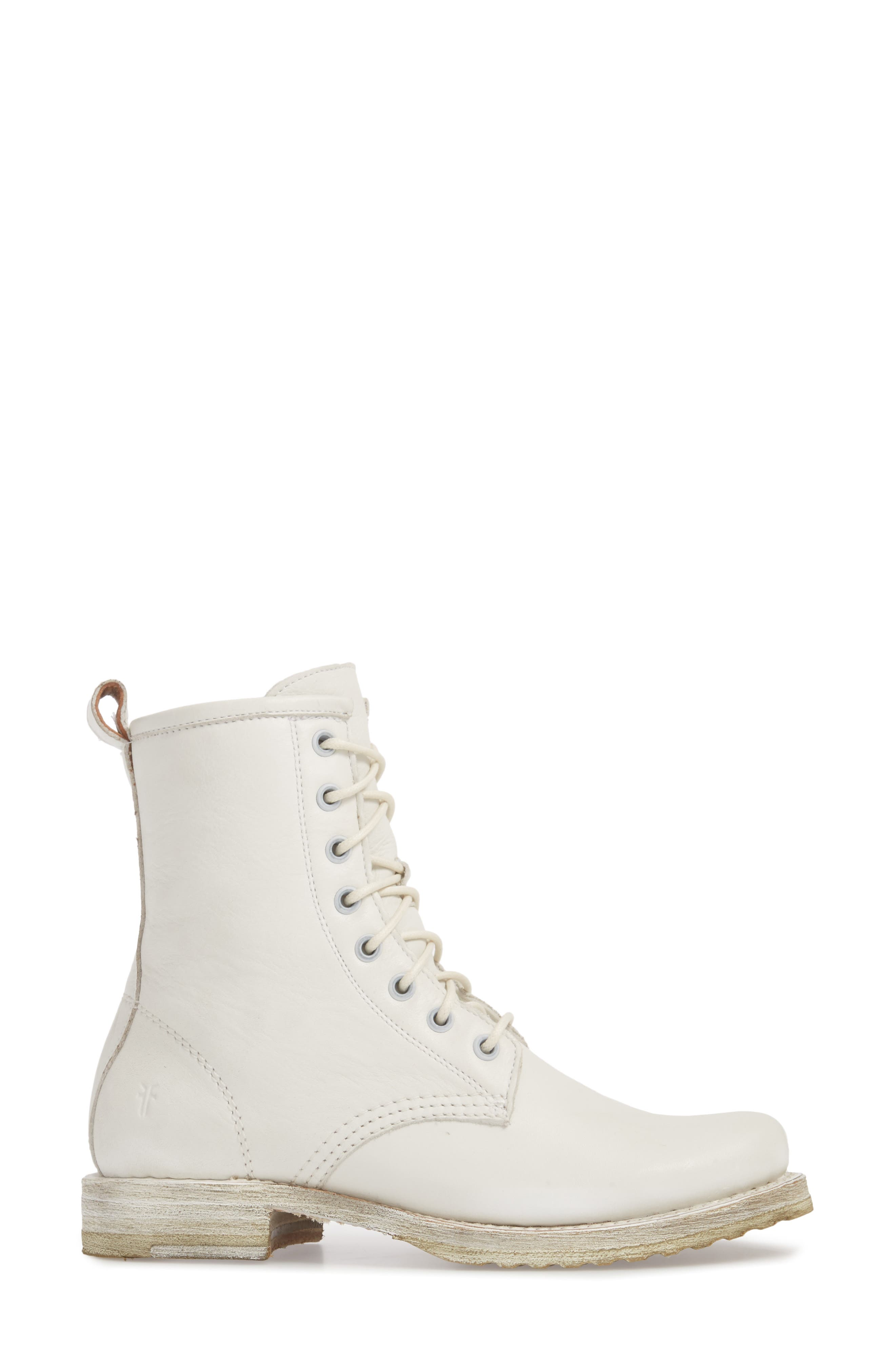 'Veronica Combat' Boot,                             Alternate thumbnail 3, color,                             WHITE LEATHER