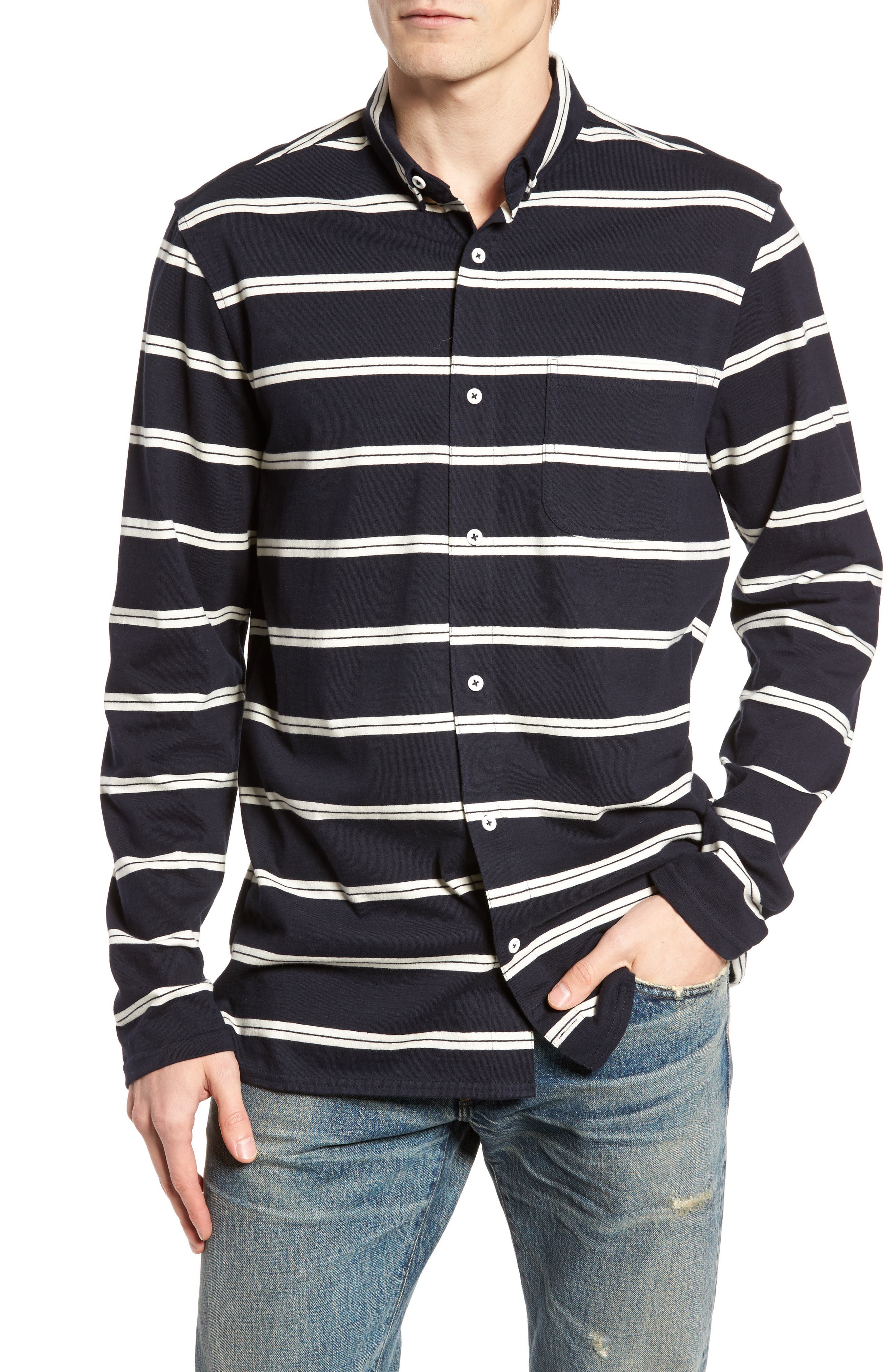 Stripe Jersey Shirt,                         Main,                         color, 410