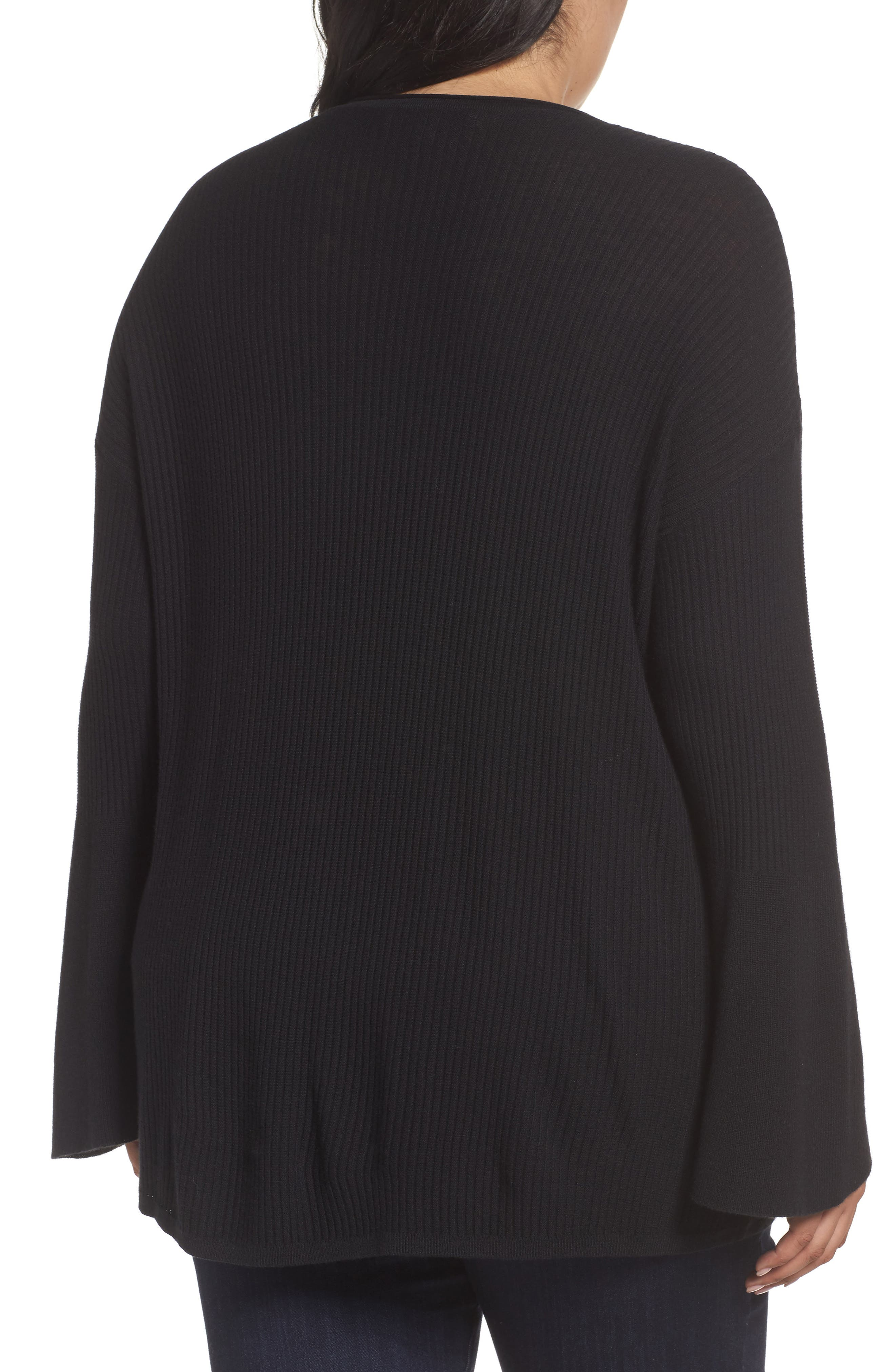 Ribbed Bell Sleeve Sweater,                             Alternate thumbnail 3, color,
