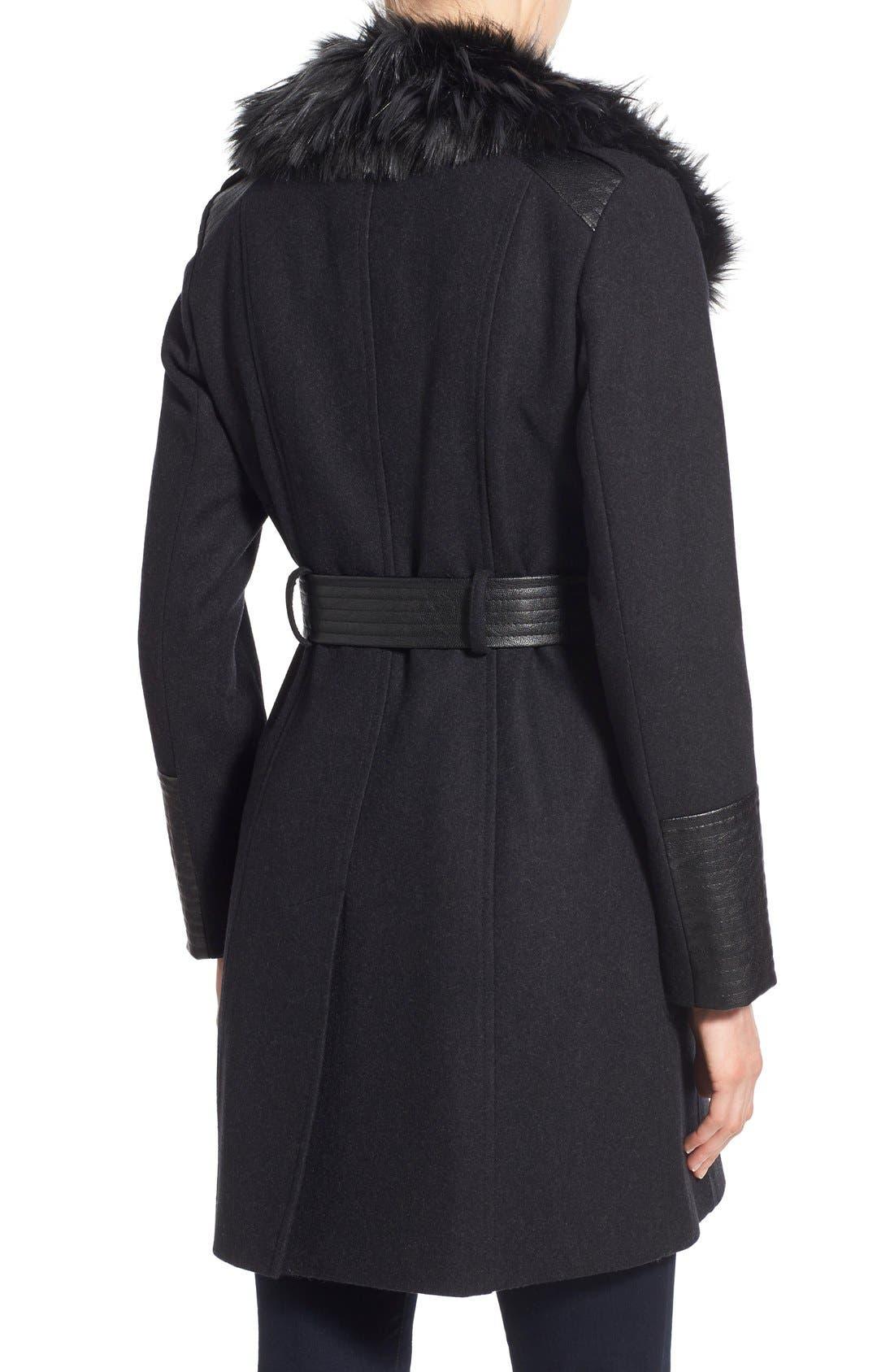 Faux Leather & Faux Fur Trim Belted Wool Blend Coat,                             Alternate thumbnail 28, color,