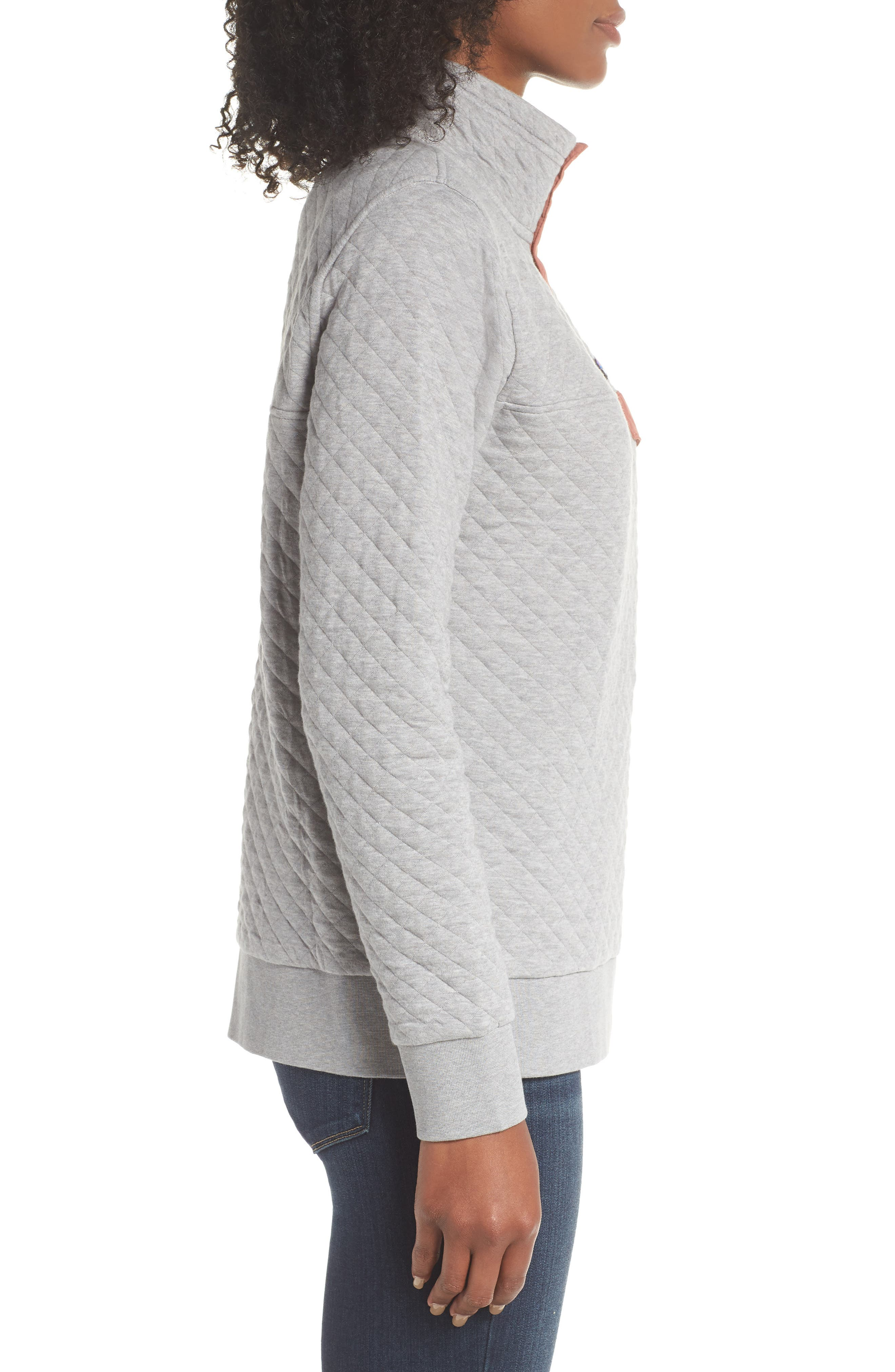 Snap-T<sup>®</sup> Quilted Pullover,                             Alternate thumbnail 3, color,                             DRIFT GREY