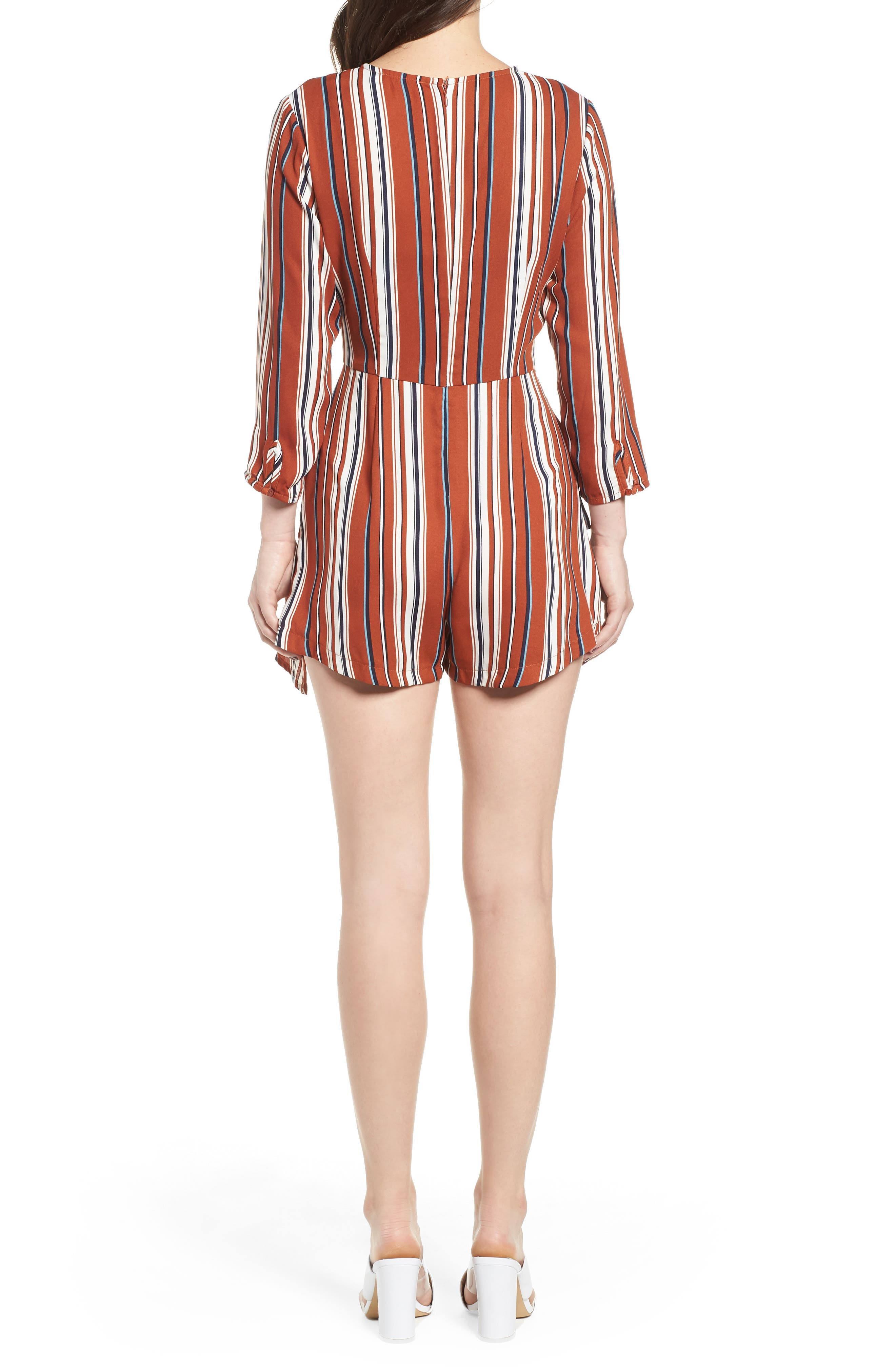 Ruffle Hem Romper,                             Alternate thumbnail 2, color,                             RUST STRIPE
