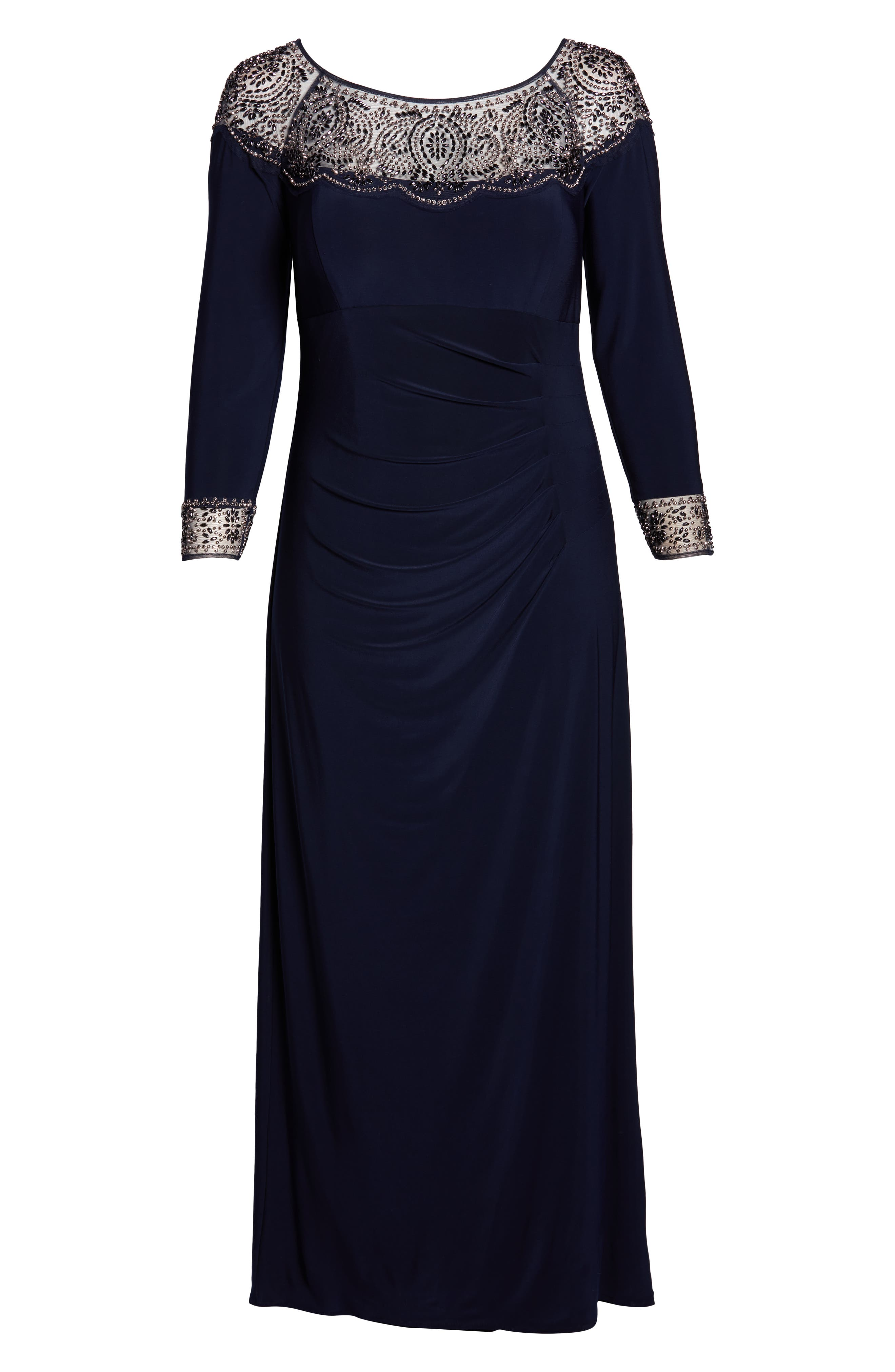 Side Ruched Beaded Gown,                             Alternate thumbnail 7, color,                             NAVY/ GUN