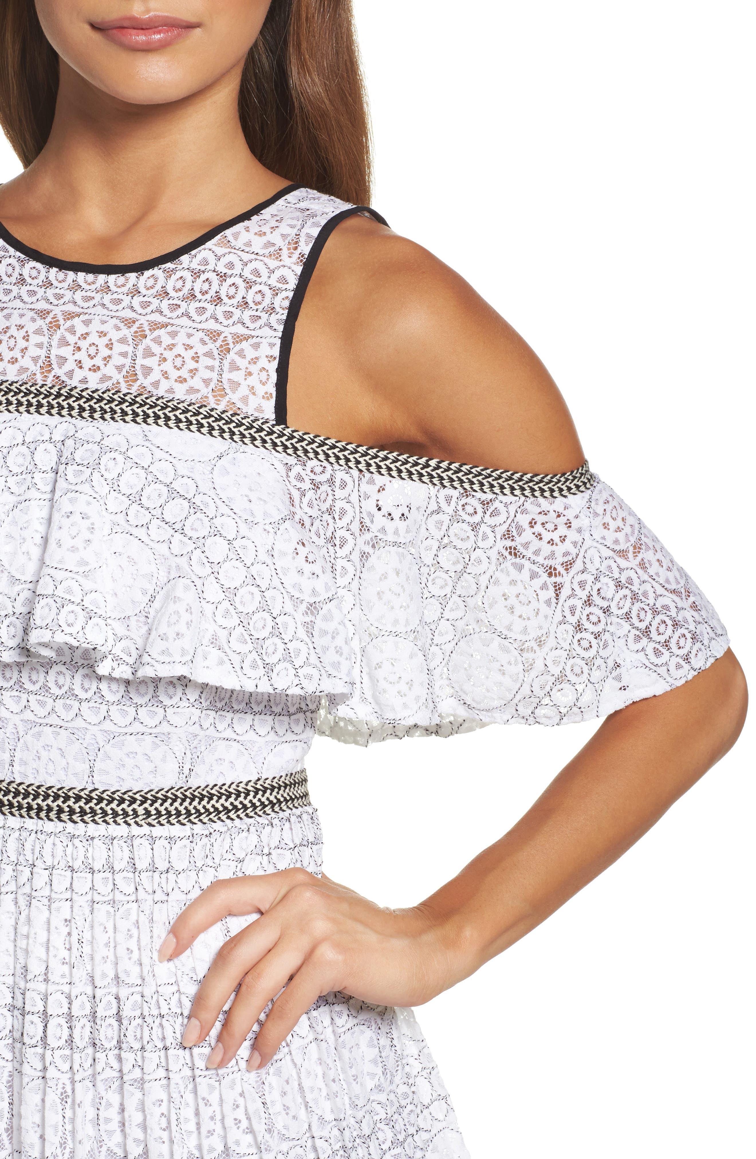 Belinda Lace Cold Shoulder Dress,                             Alternate thumbnail 4, color,